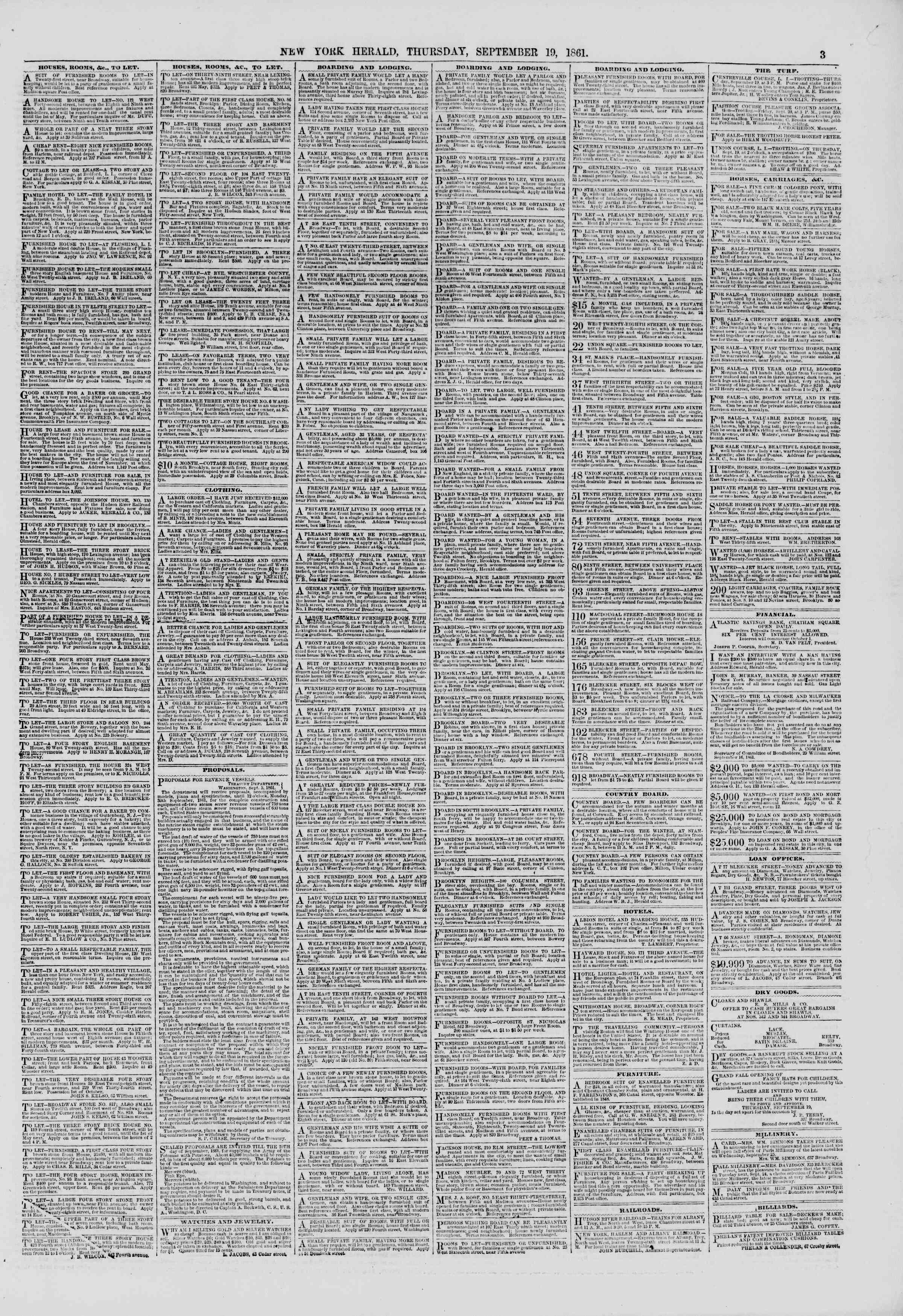 Newspaper of The New York Herald dated September 19, 1861 Page 3