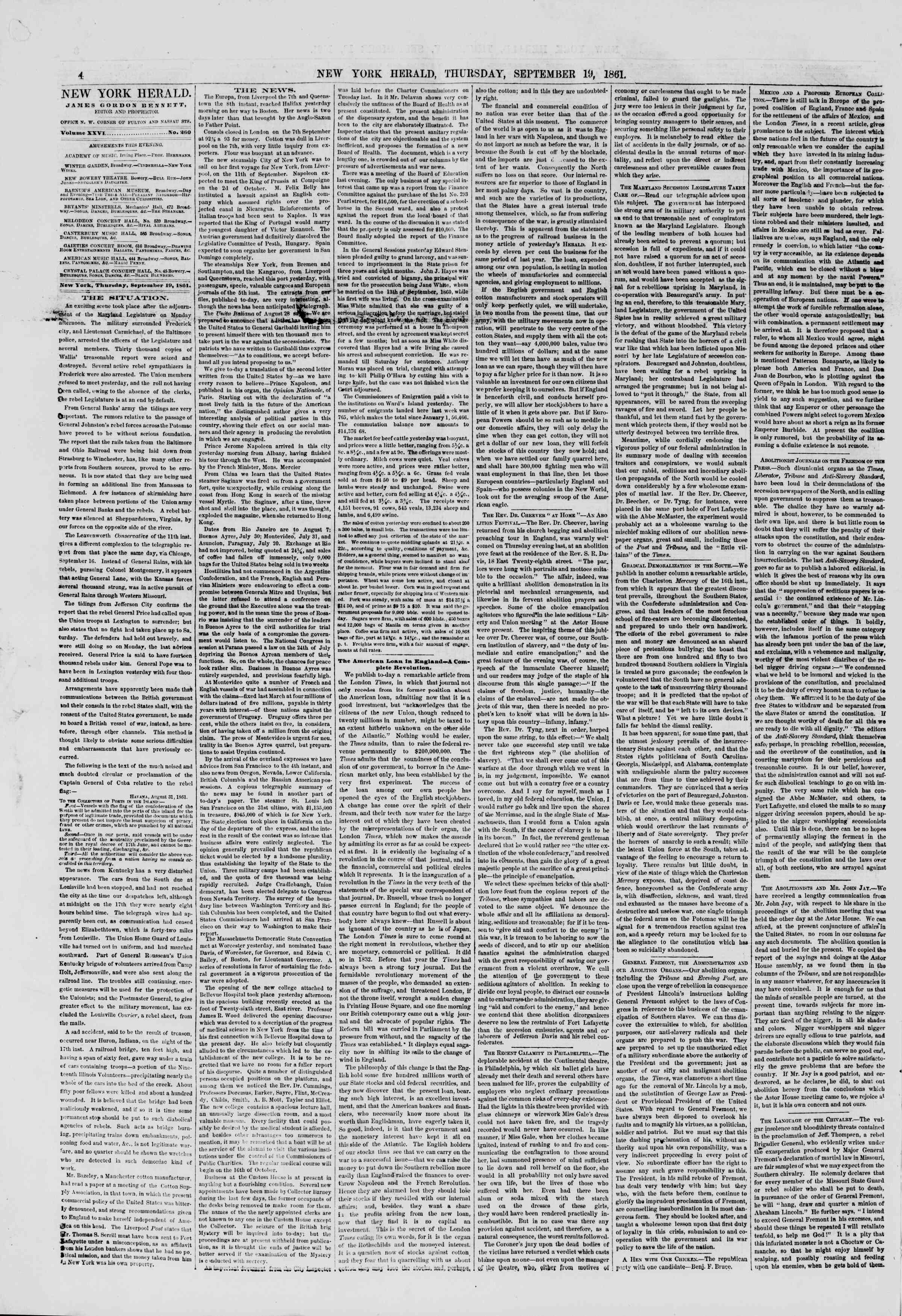 Newspaper of The New York Herald dated September 19, 1861 Page 4