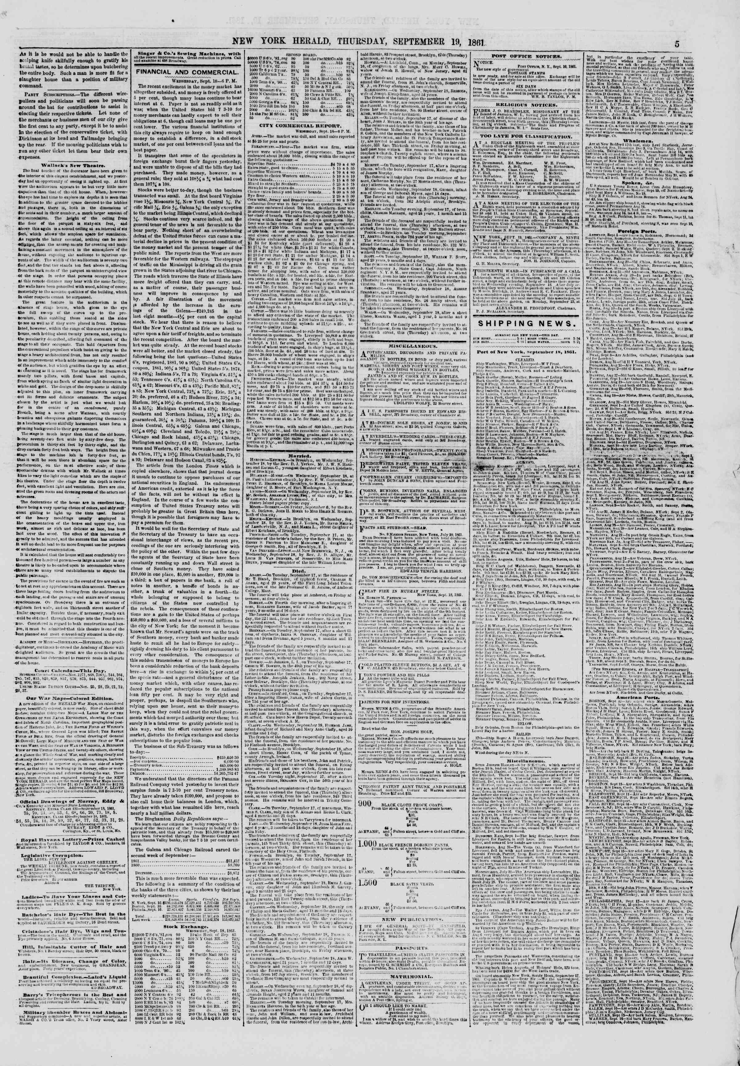 Newspaper of The New York Herald dated September 19, 1861 Page 5