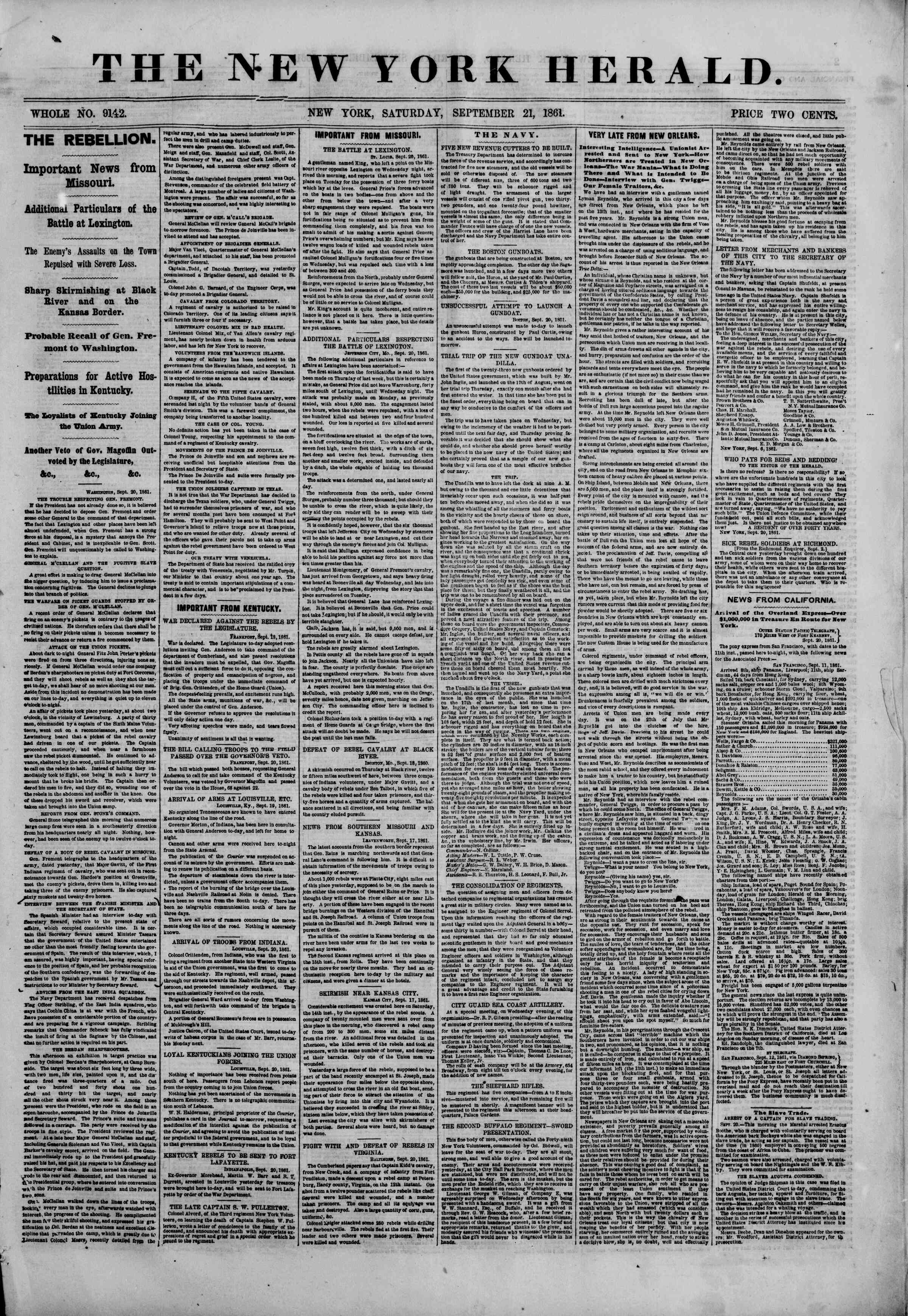 Newspaper of The New York Herald dated September 21, 1861 Page 1