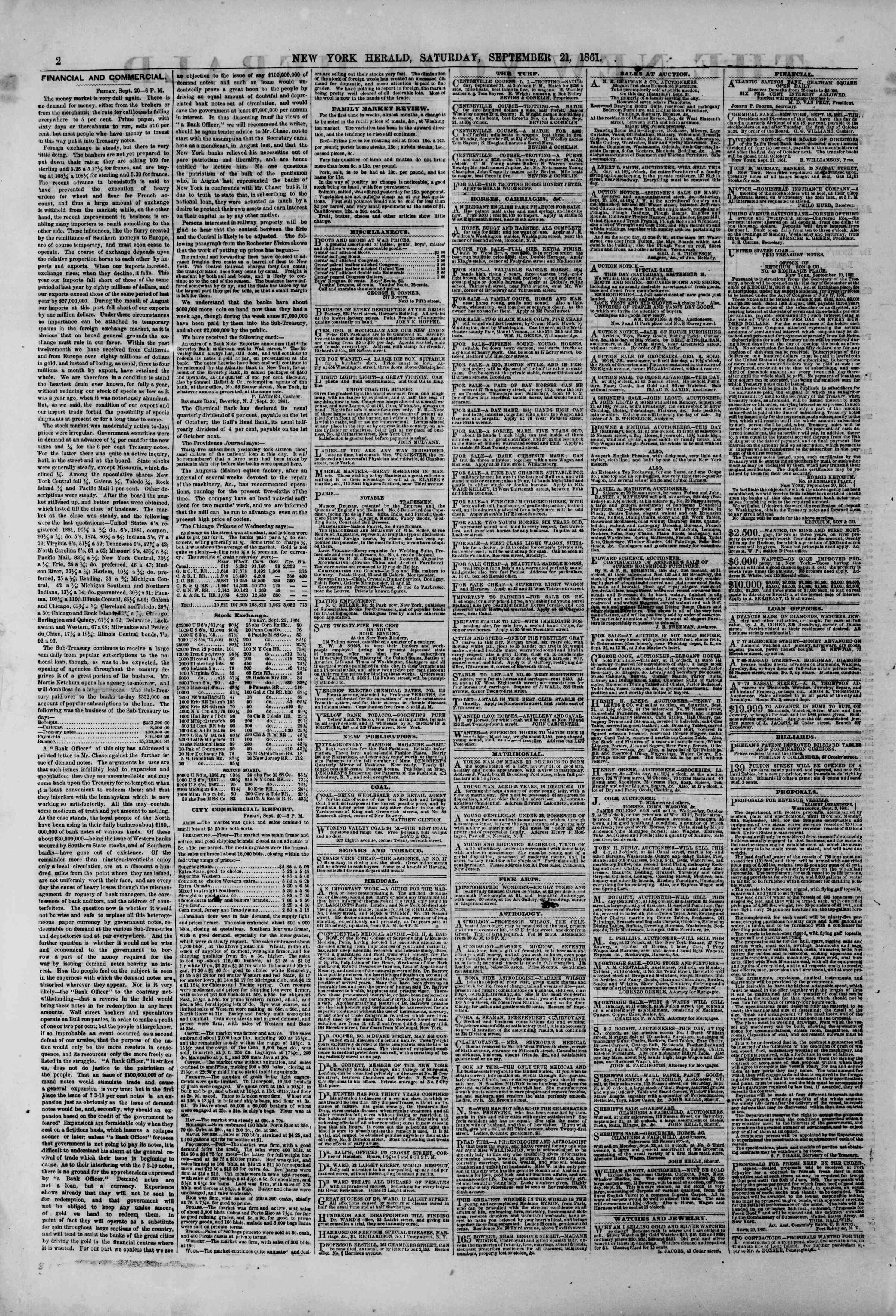 Newspaper of The New York Herald dated September 21, 1861 Page 2