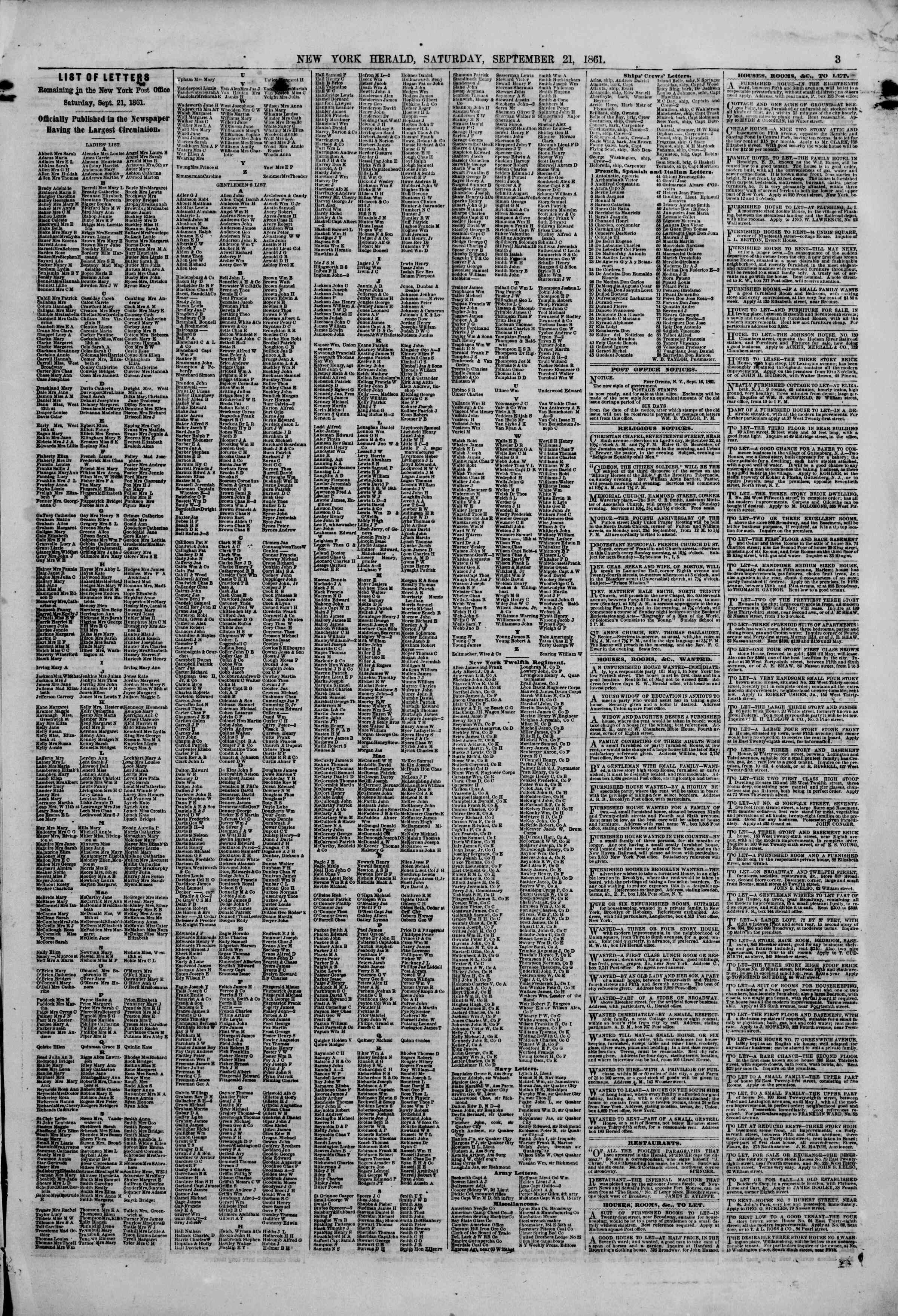 Newspaper of The New York Herald dated September 21, 1861 Page 3