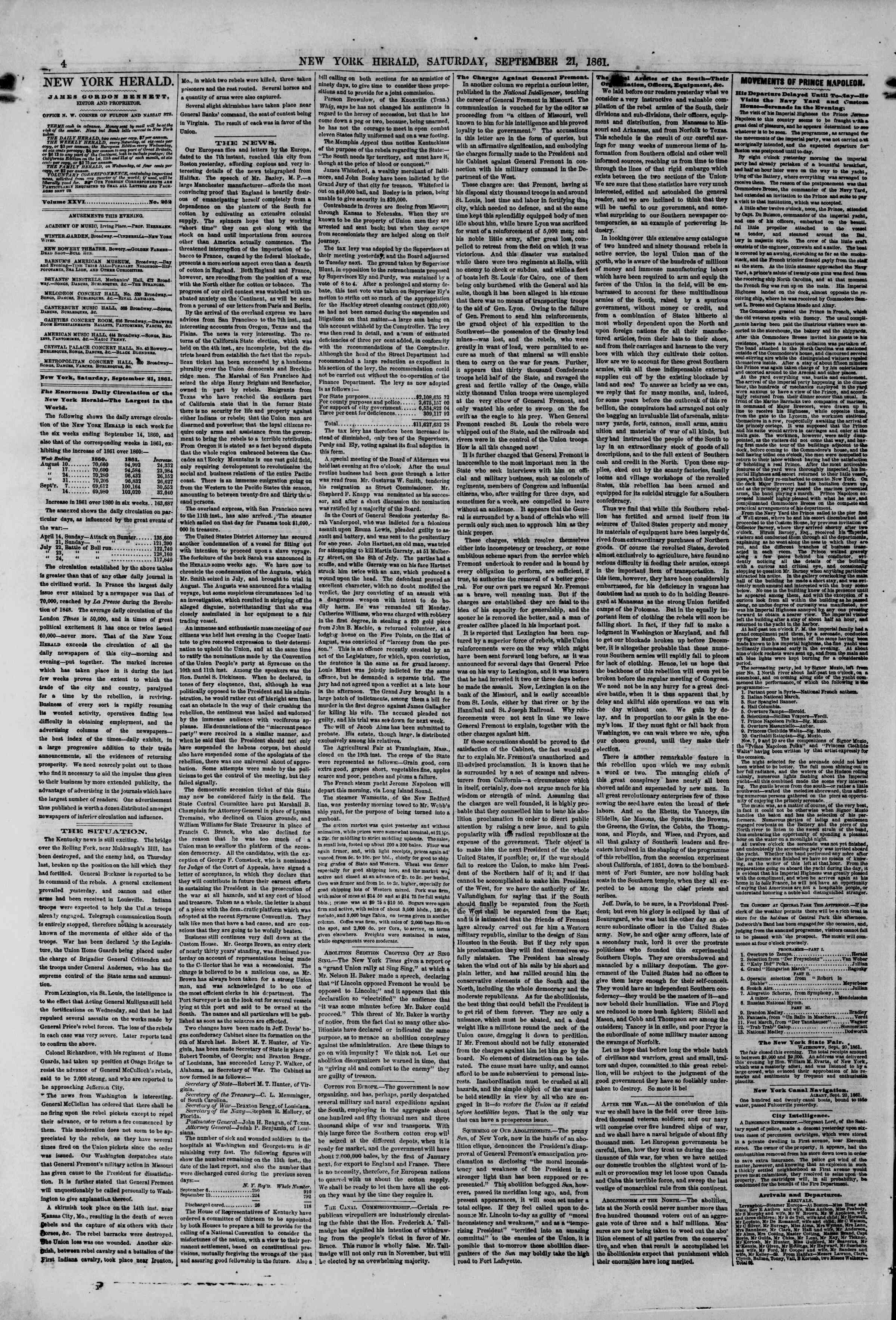Newspaper of The New York Herald dated September 21, 1861 Page 4