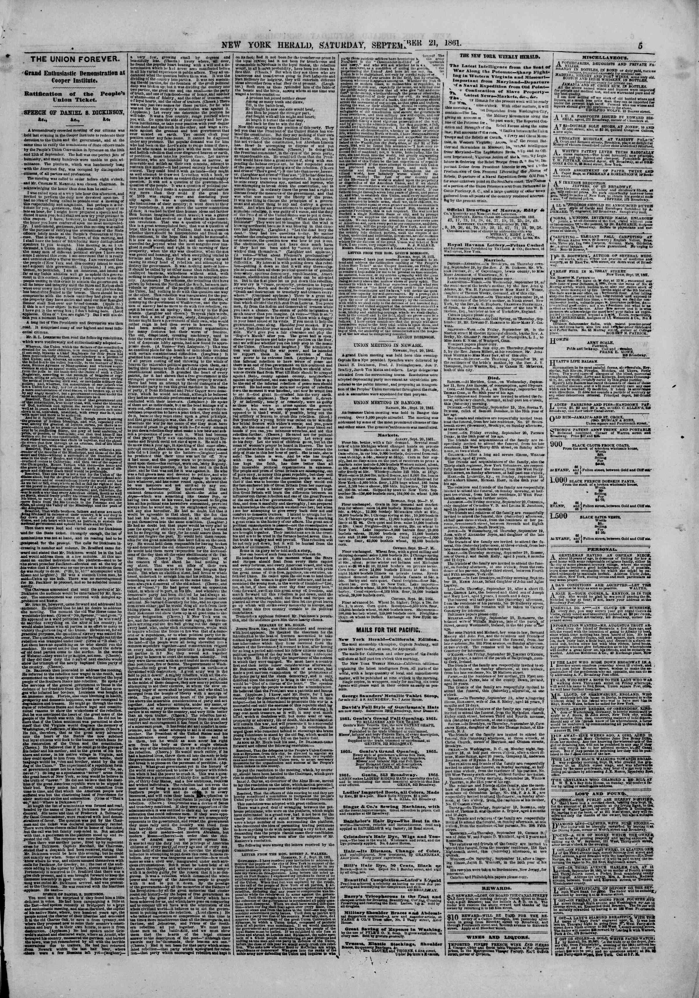Newspaper of The New York Herald dated September 21, 1861 Page 5