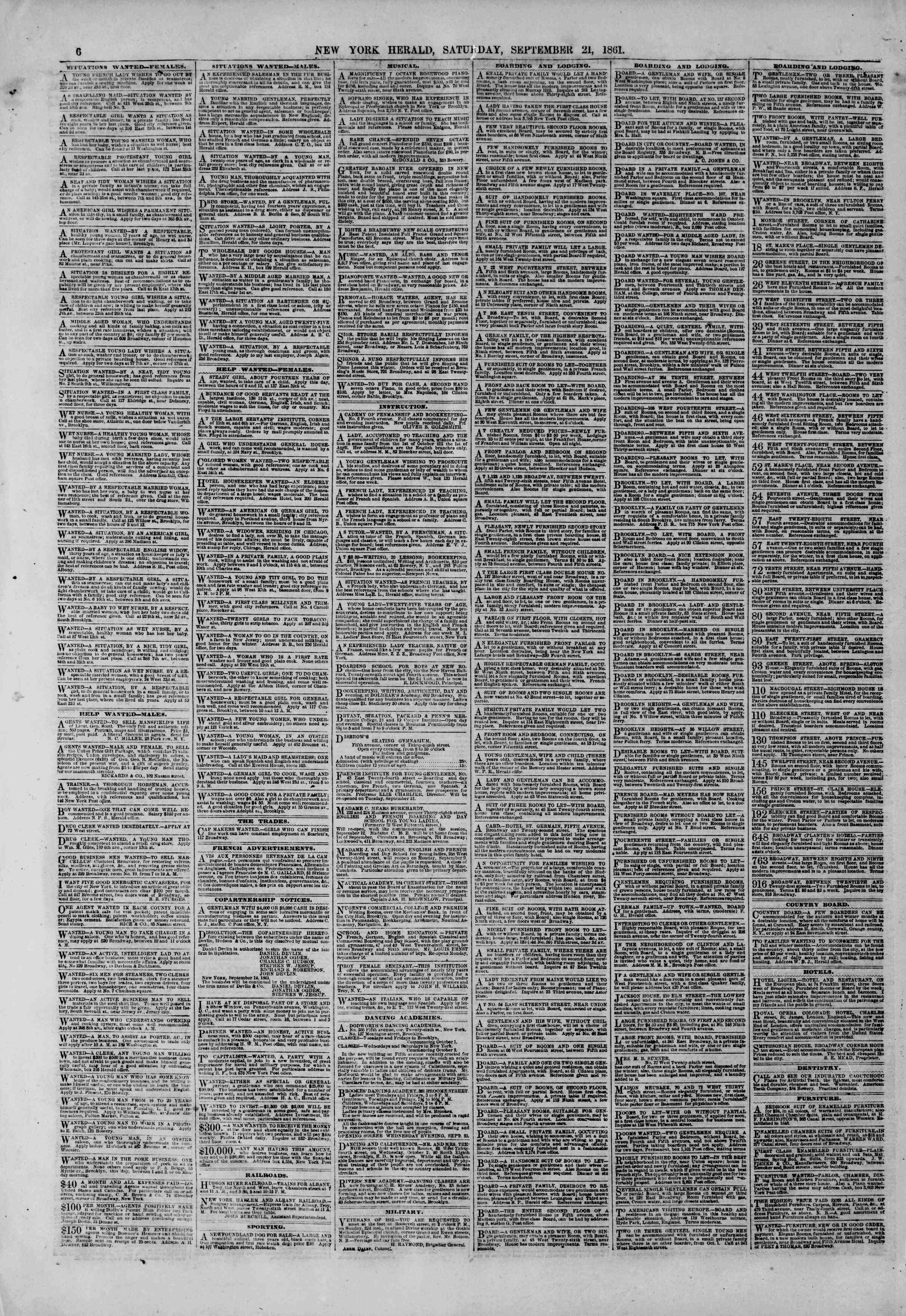 Newspaper of The New York Herald dated September 21, 1861 Page 6