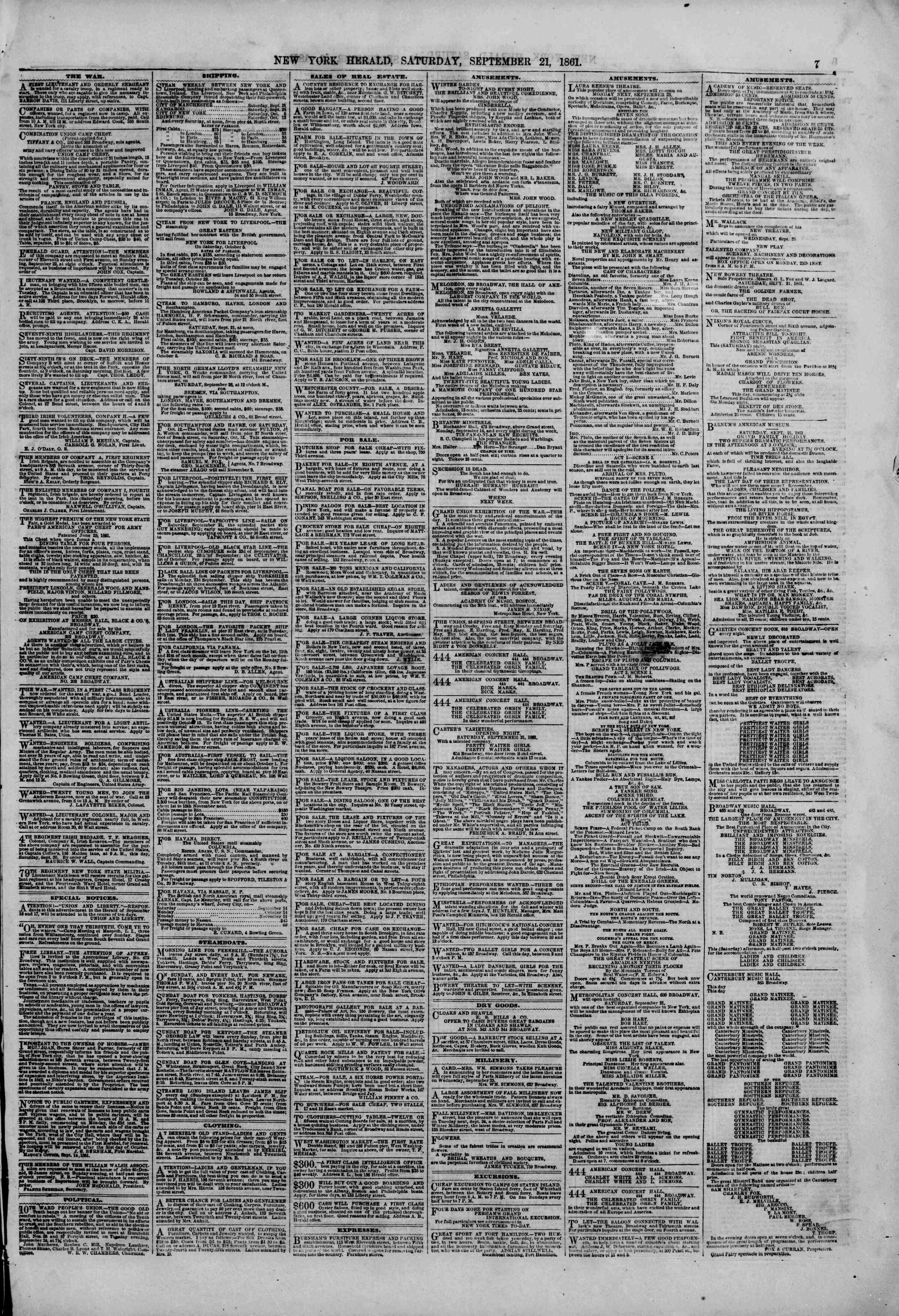 Newspaper of The New York Herald dated September 21, 1861 Page 7