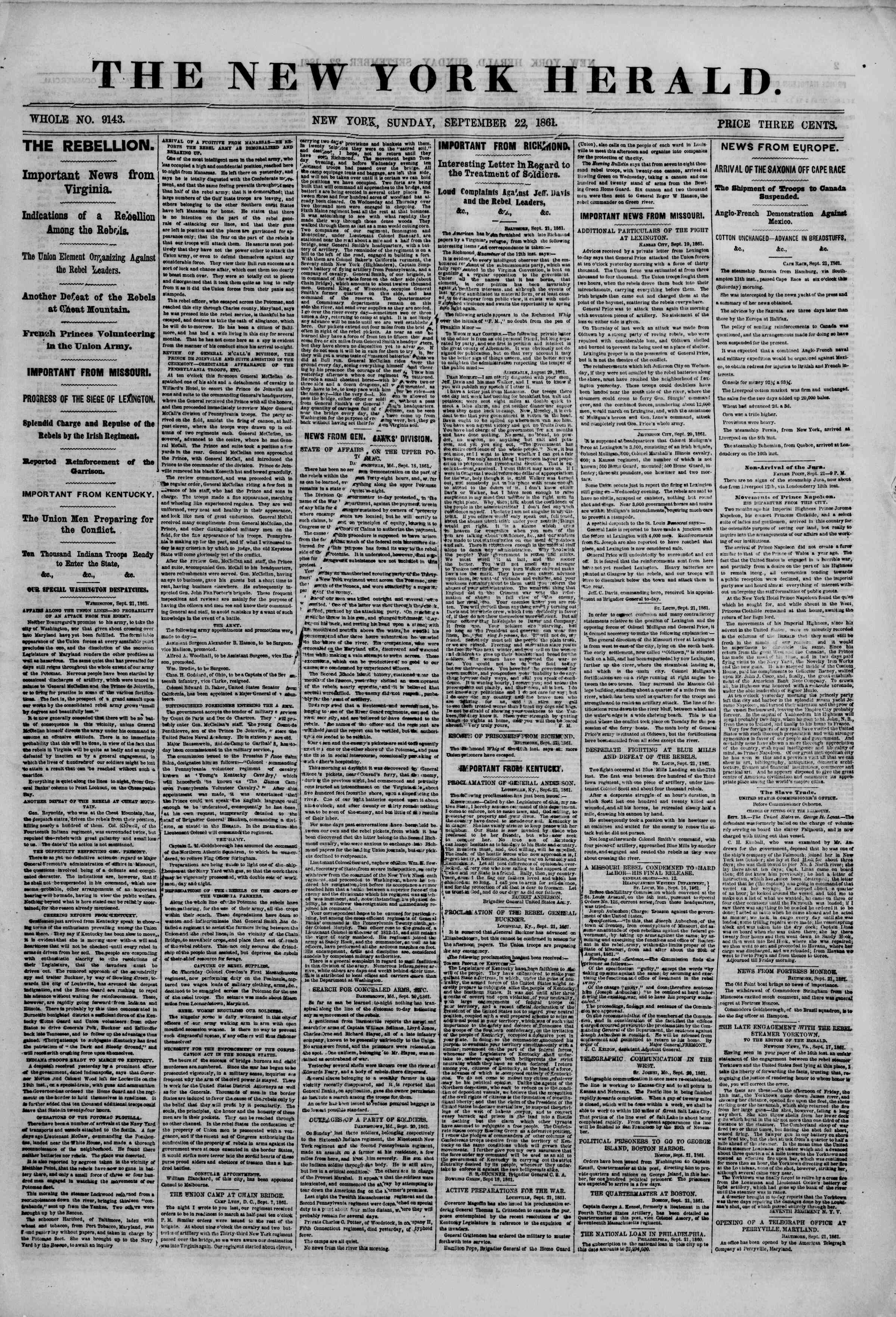 Newspaper of The New York Herald dated September 22, 1861 Page 1