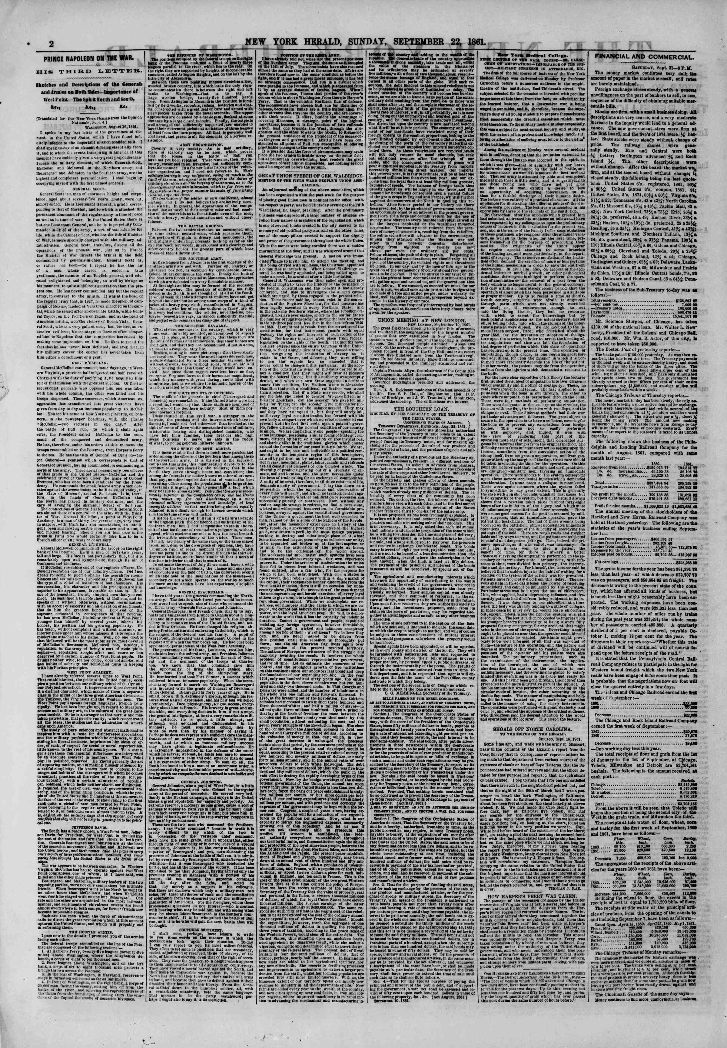 Newspaper of The New York Herald dated September 22, 1861 Page 2