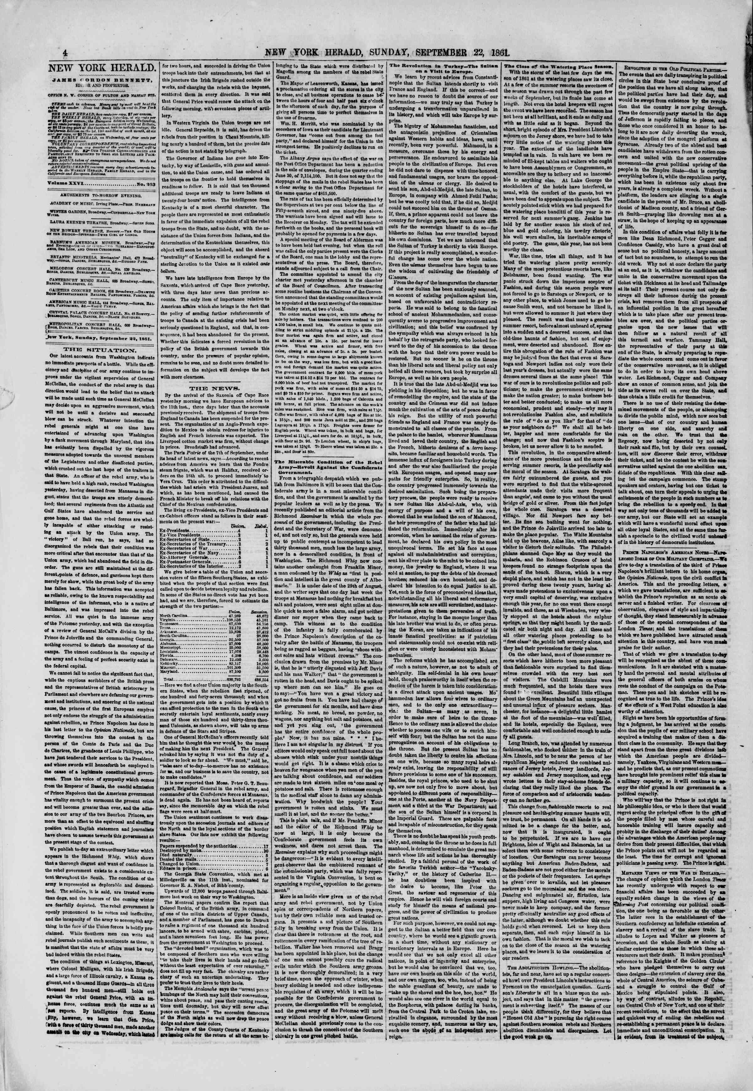 Newspaper of The New York Herald dated September 22, 1861 Page 6