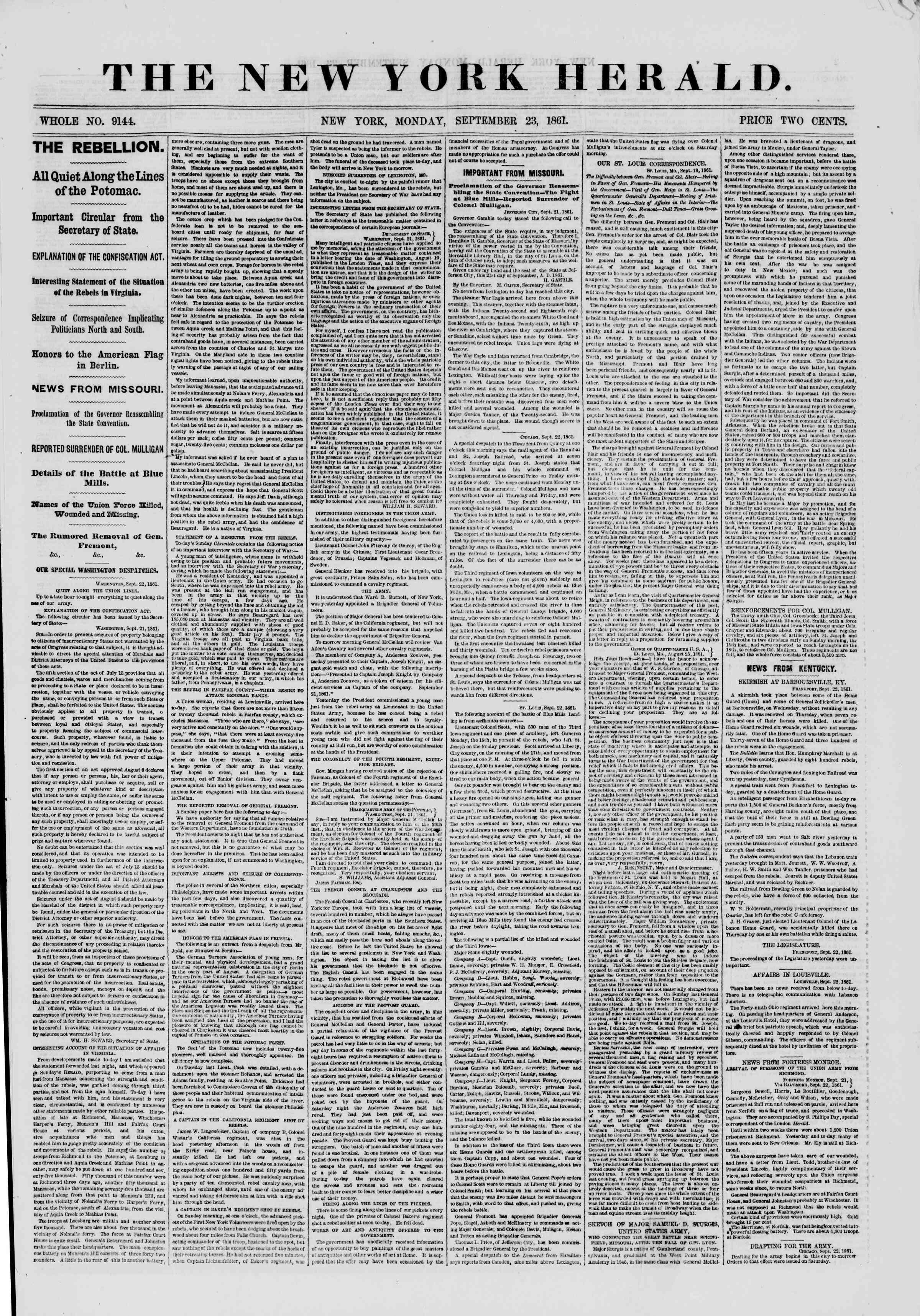 Newspaper of The New York Herald dated September 23, 1861 Page 1