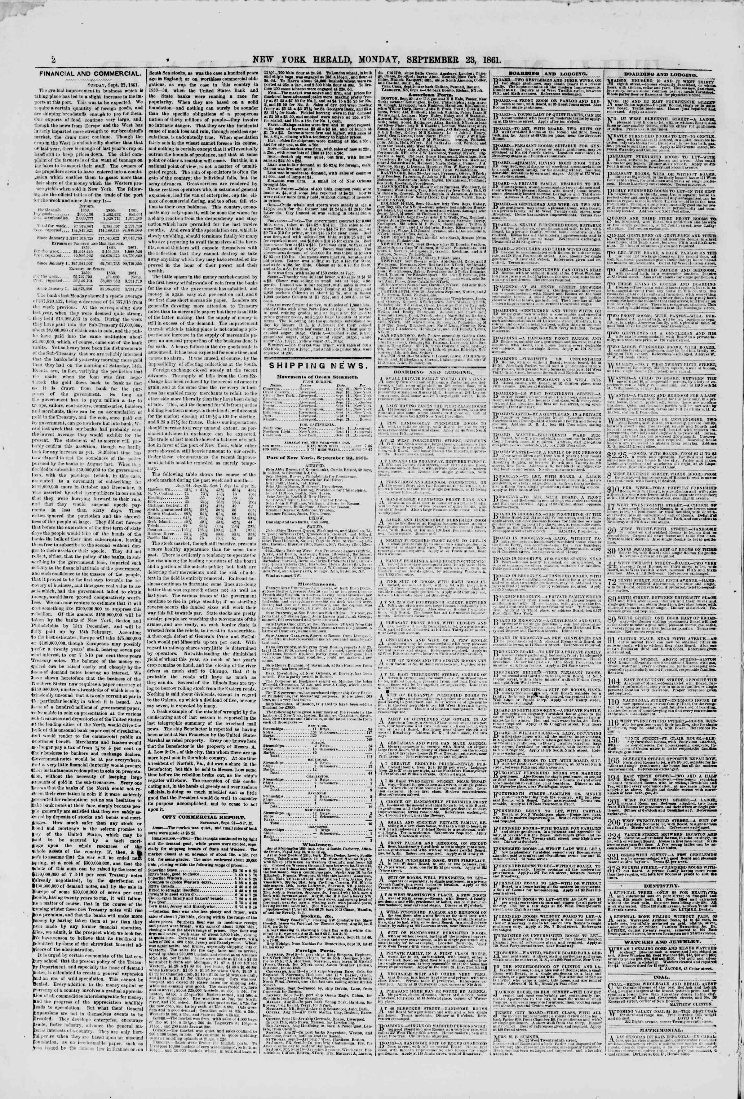Newspaper of The New York Herald dated September 23, 1861 Page 2