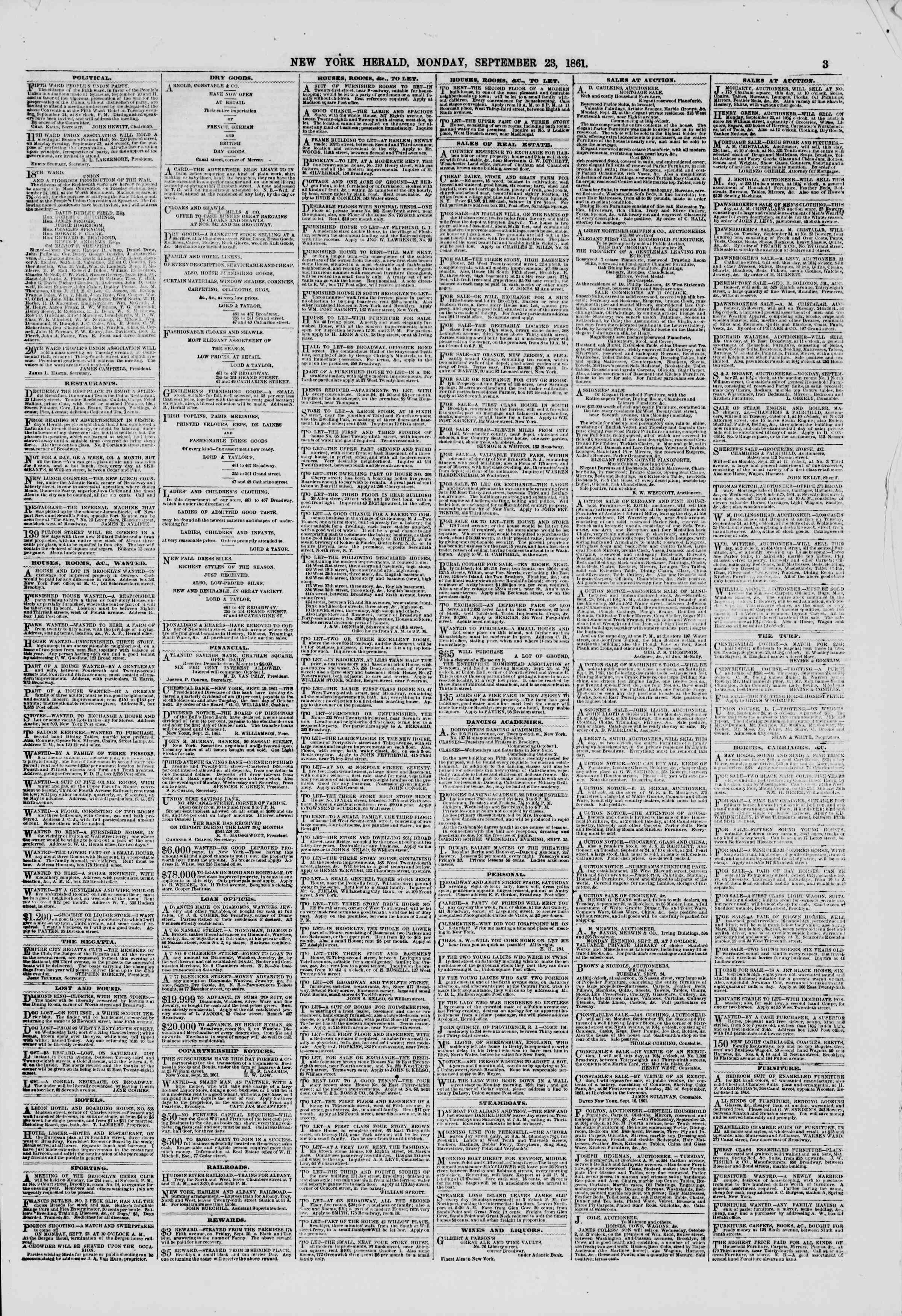 Newspaper of The New York Herald dated September 23, 1861 Page 3