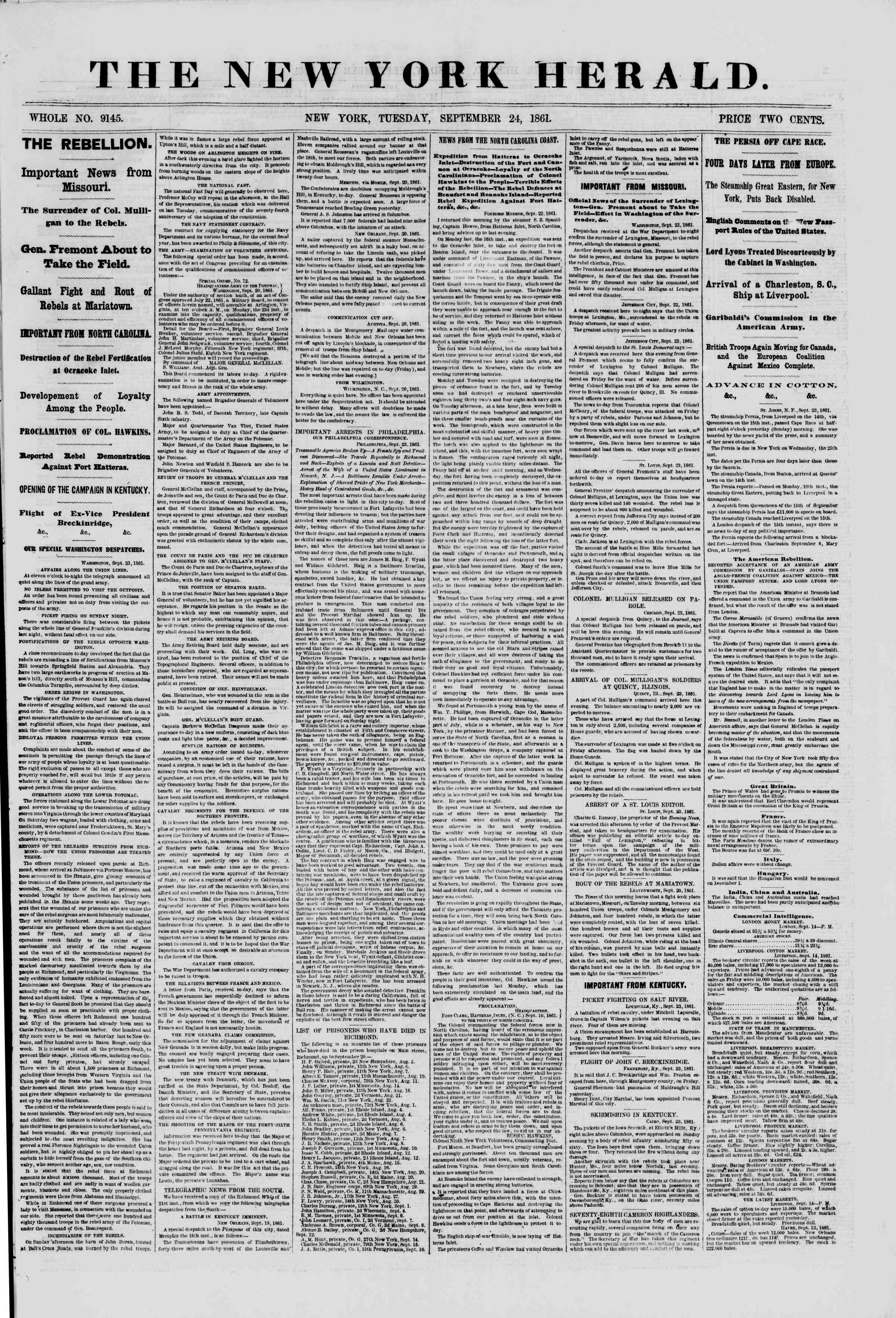 Newspaper of The New York Herald dated September 24, 1861 Page 1