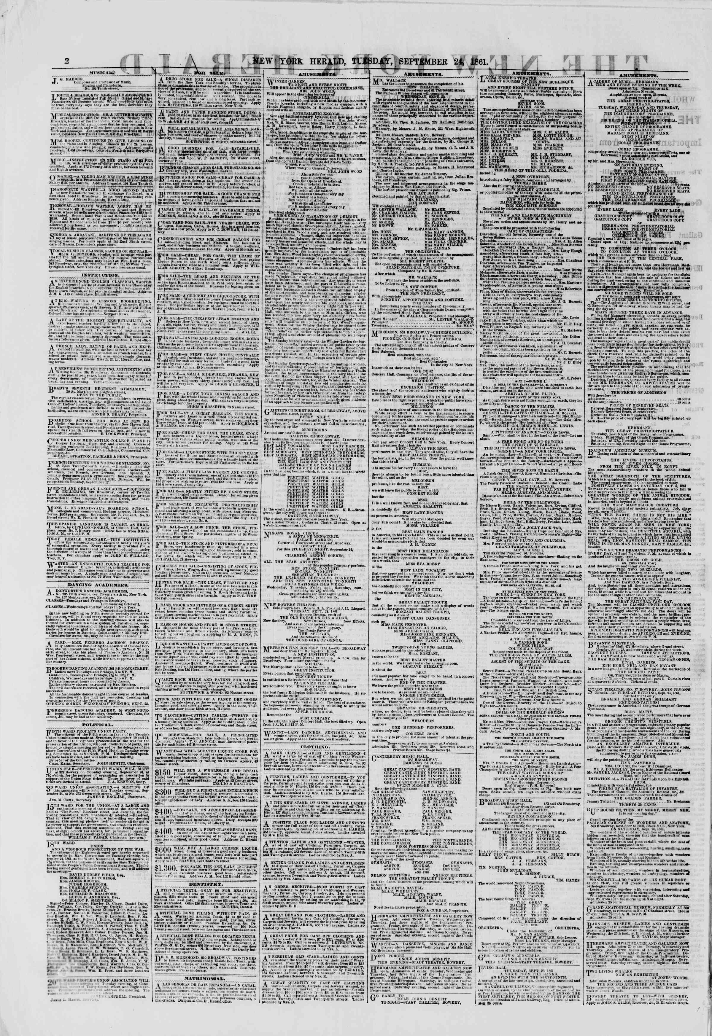 Newspaper of The New York Herald dated September 24, 1861 Page 2