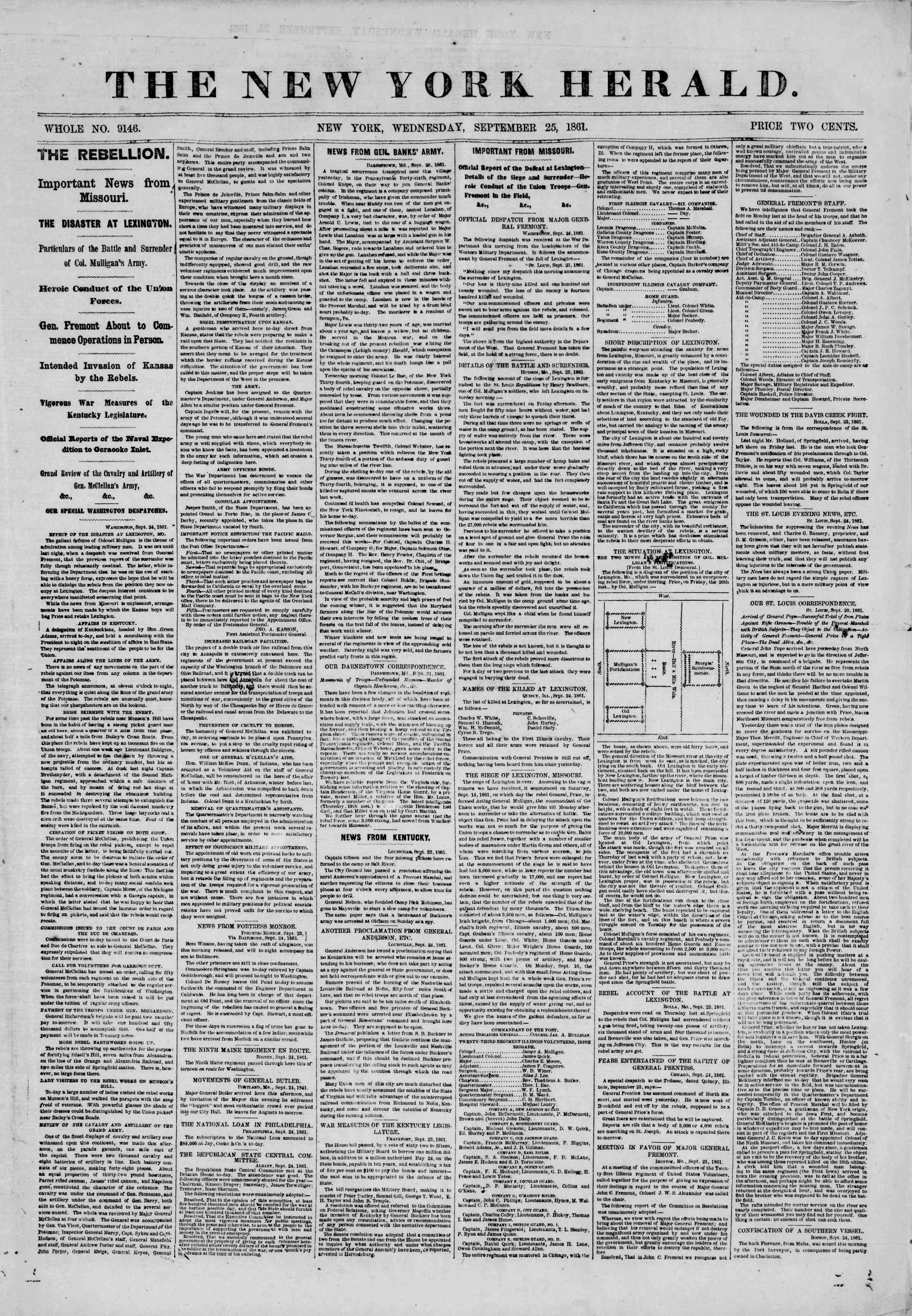 Newspaper of The New York Herald dated September 25, 1861 Page 1