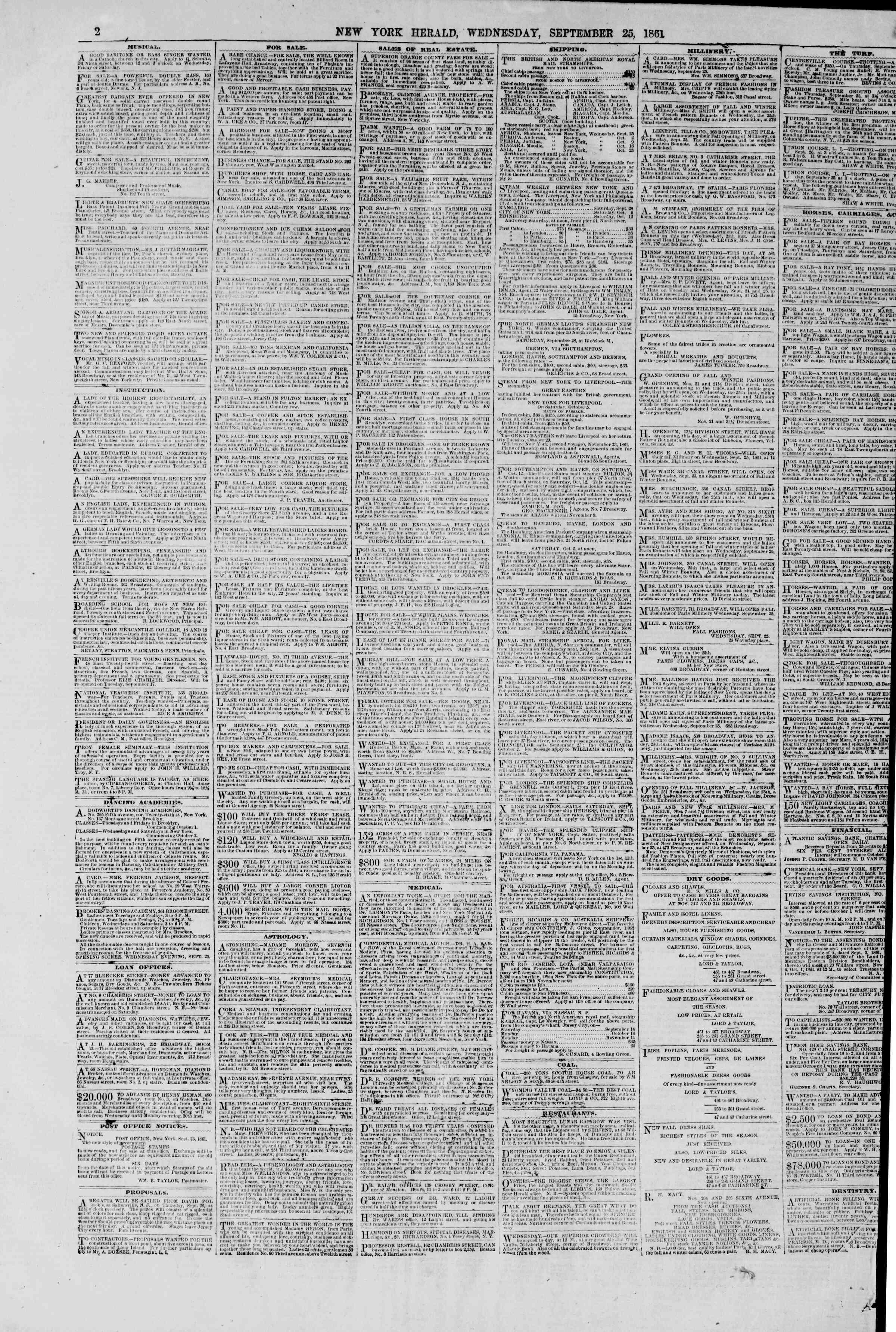 25 Eylül 1861 tarihli The New York Herald Gazetesi Sayfa 2