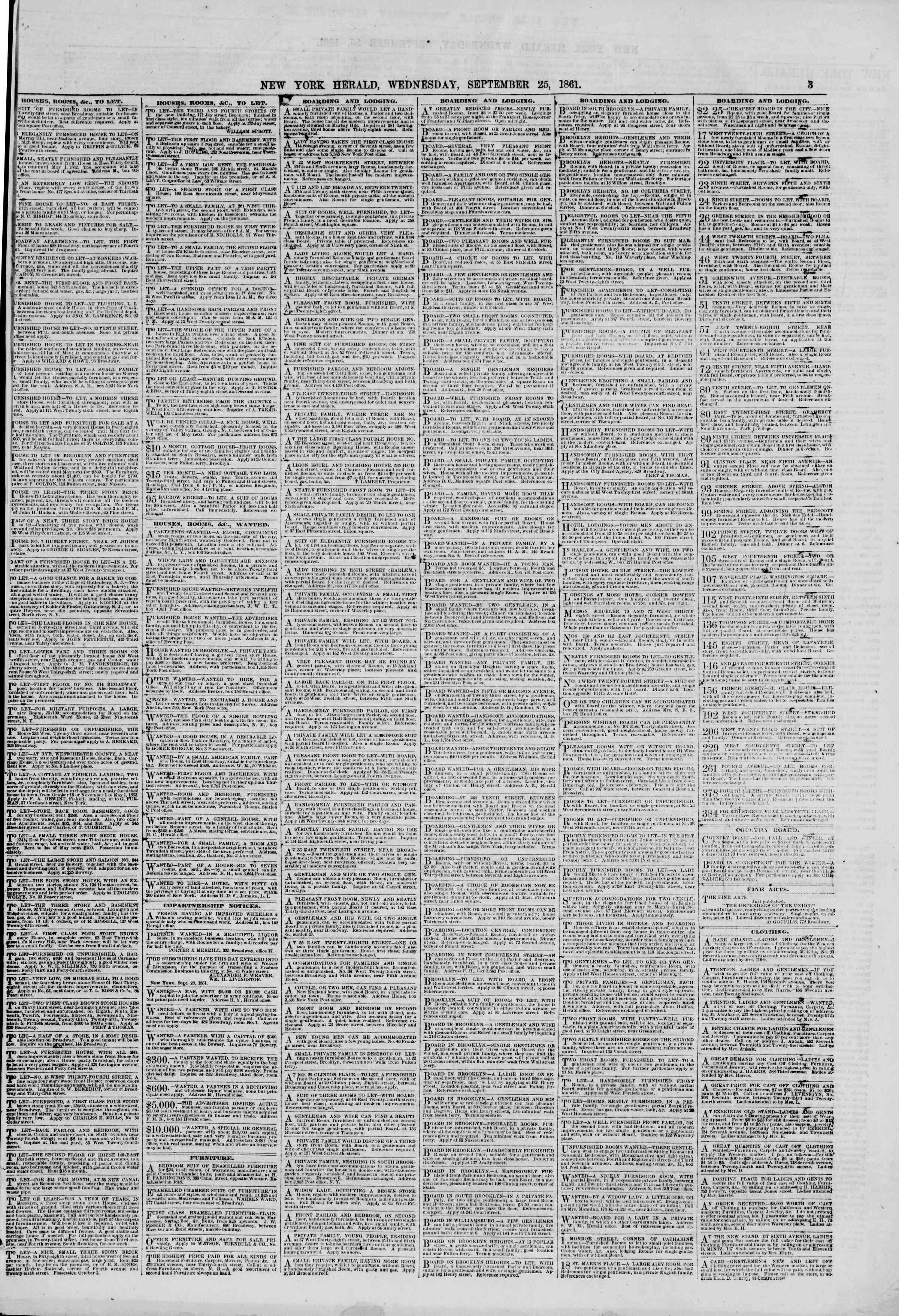 Newspaper of The New York Herald dated September 25, 1861 Page 3