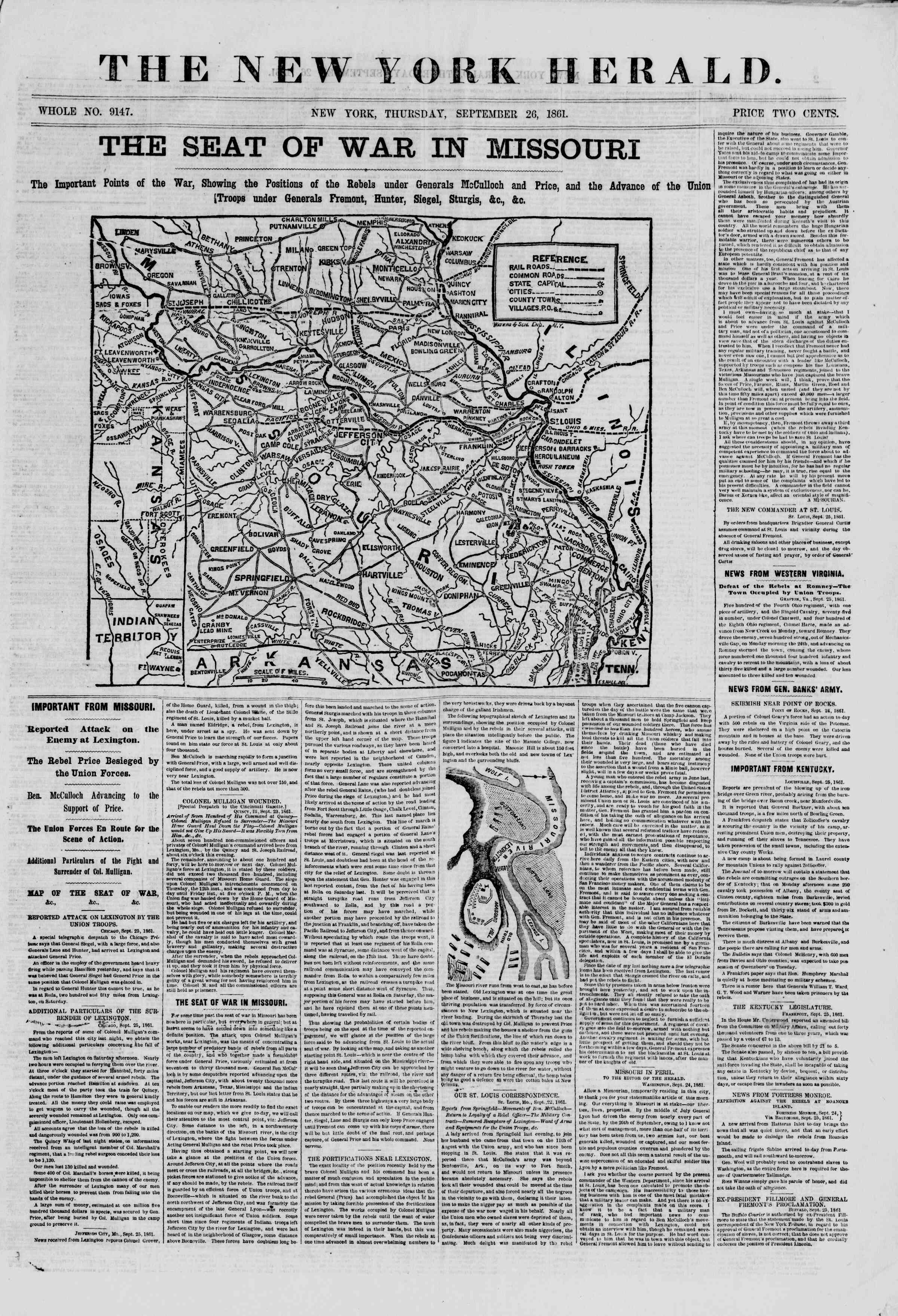 Newspaper of The New York Herald dated September 26, 1861 Page 1