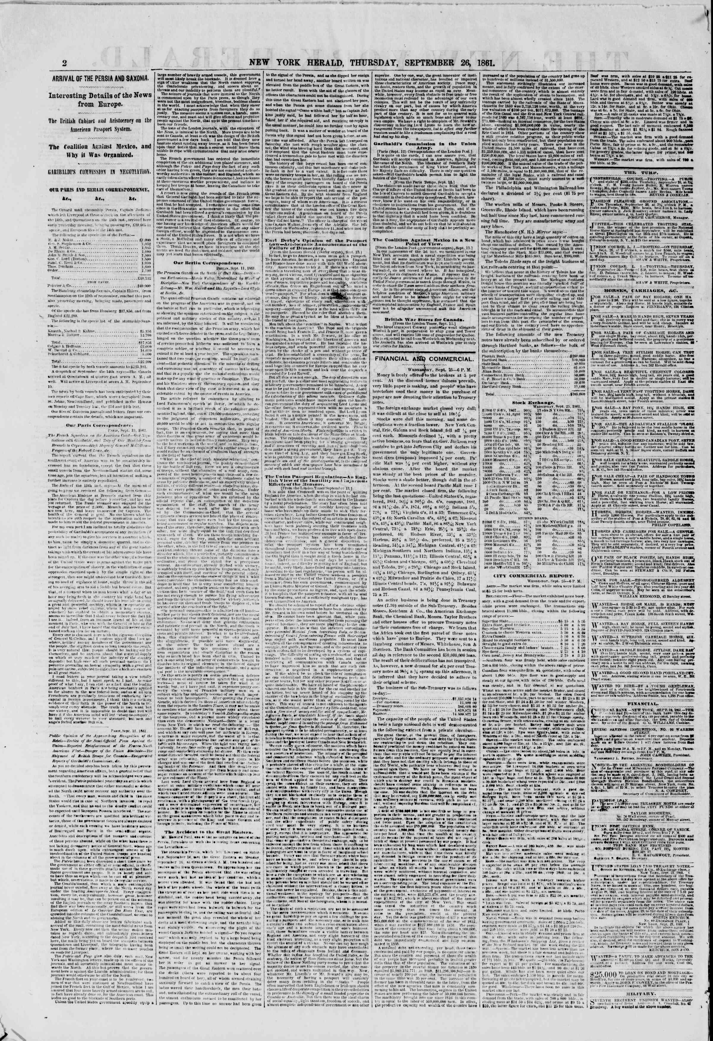 Newspaper of The New York Herald dated September 26, 1861 Page 2