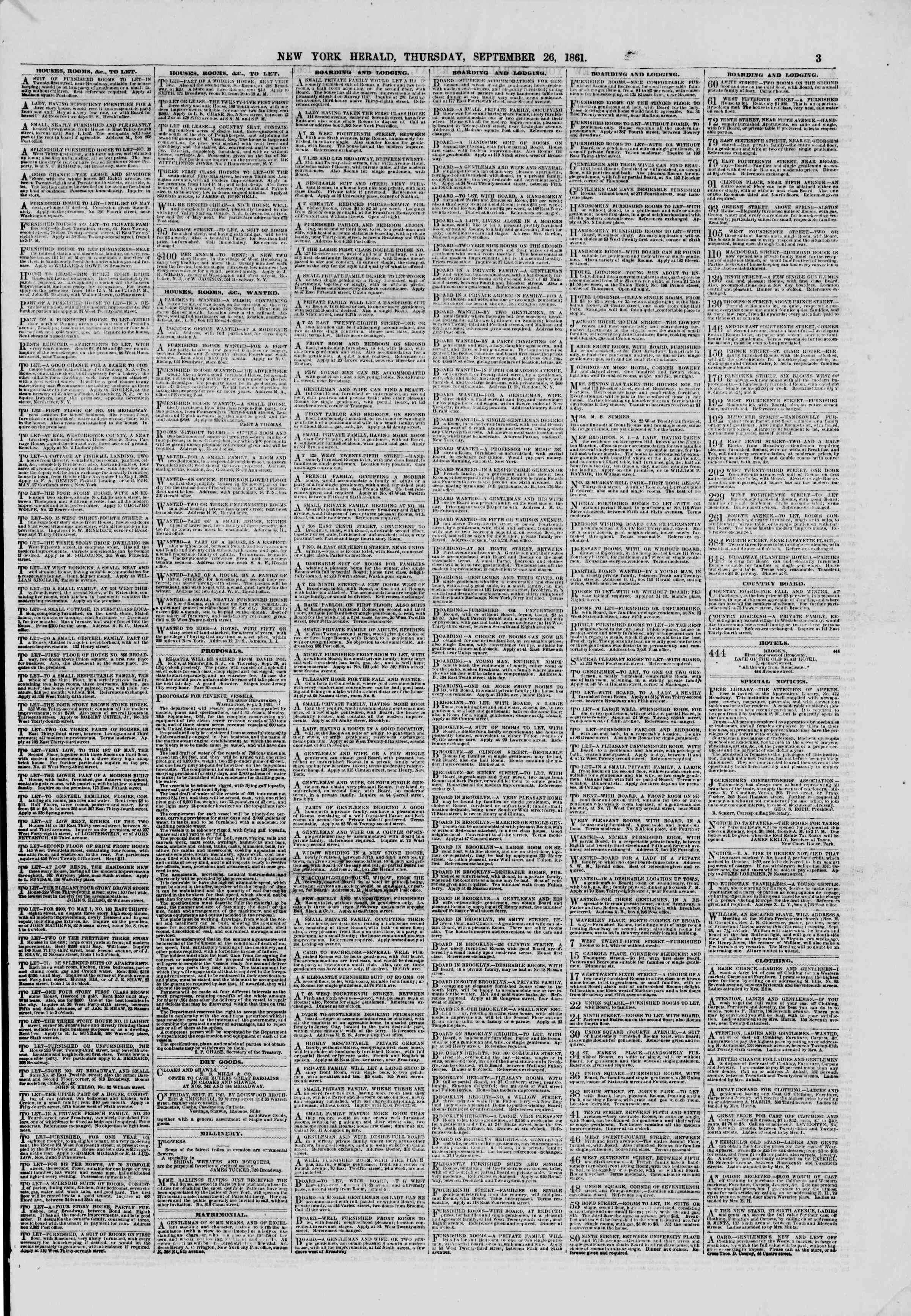 Newspaper of The New York Herald dated September 26, 1861 Page 3
