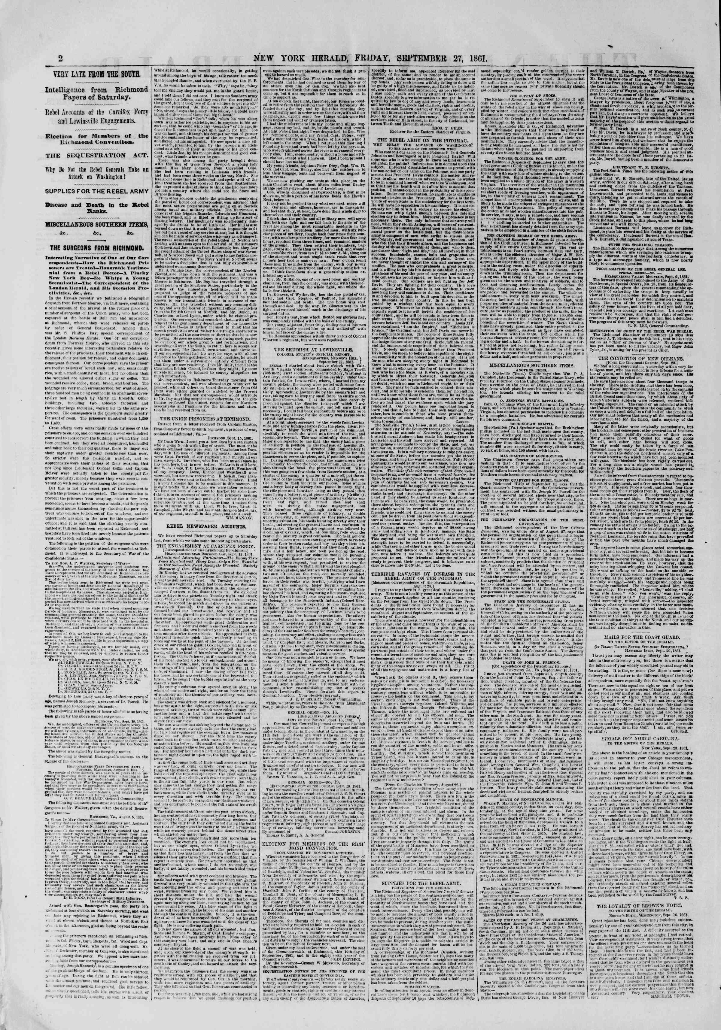 Newspaper of The New York Herald dated September 27, 1861 Page 2