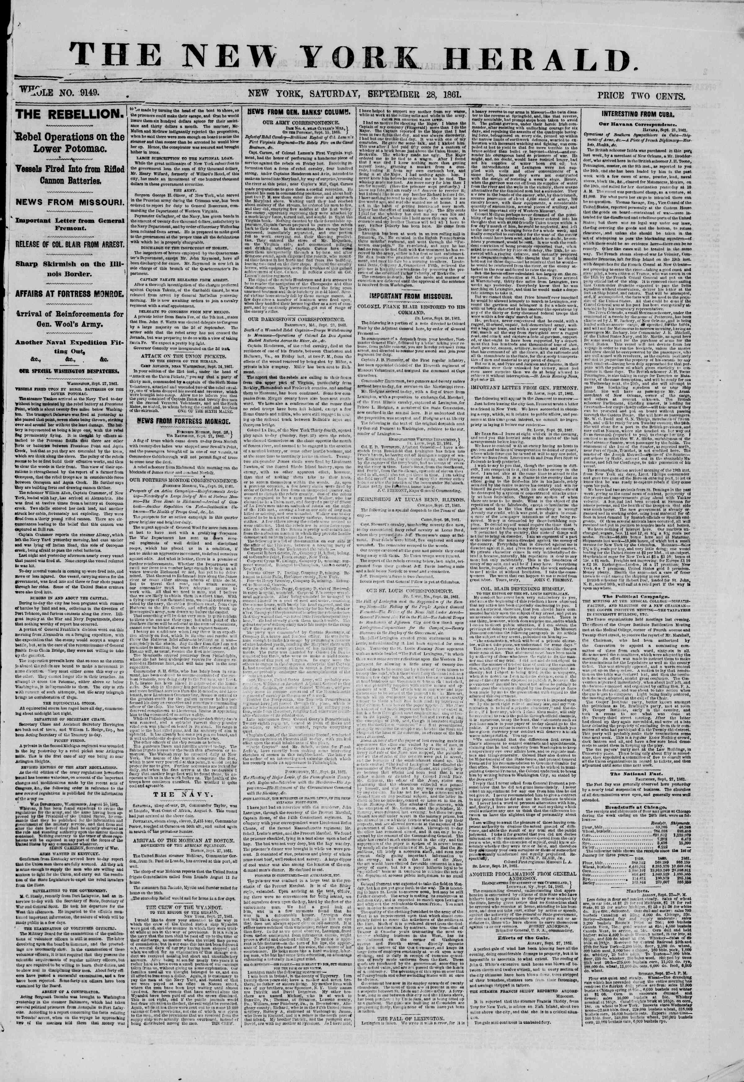Newspaper of The New York Herald dated September 28, 1861 Page 1