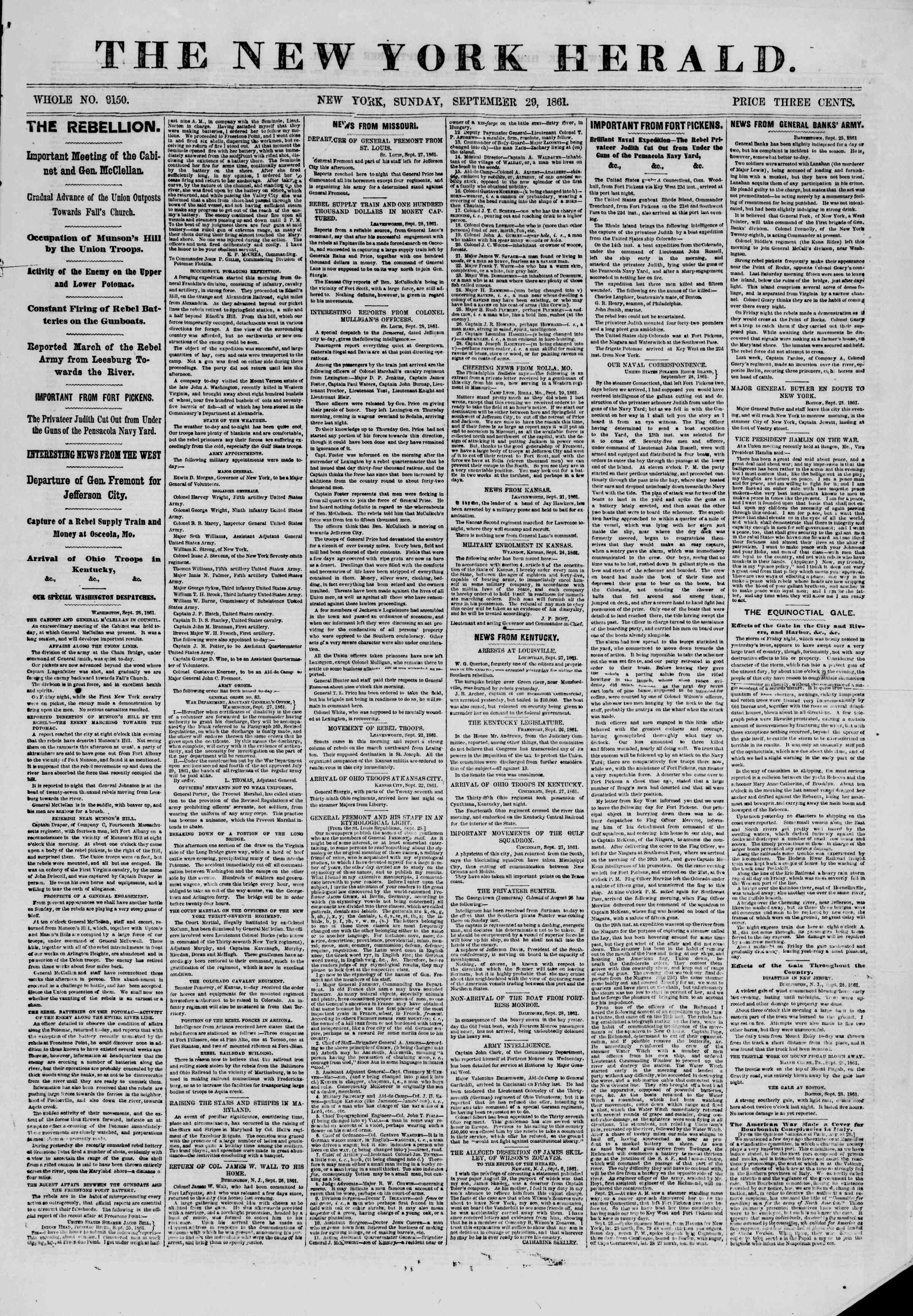Newspaper of The New York Herald dated September 29, 1861 Page 1