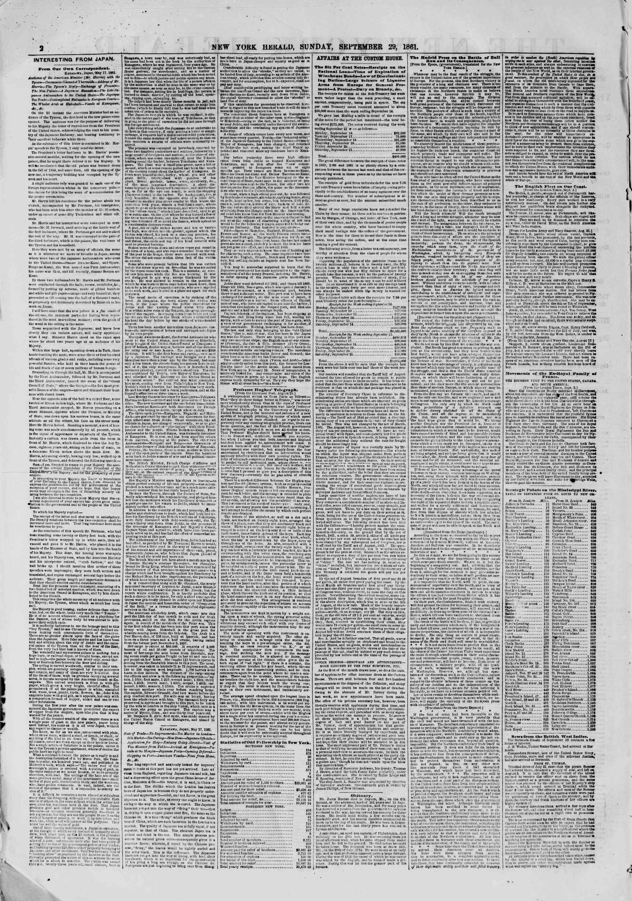 Newspaper of The New York Herald dated September 29, 1861 Page 2
