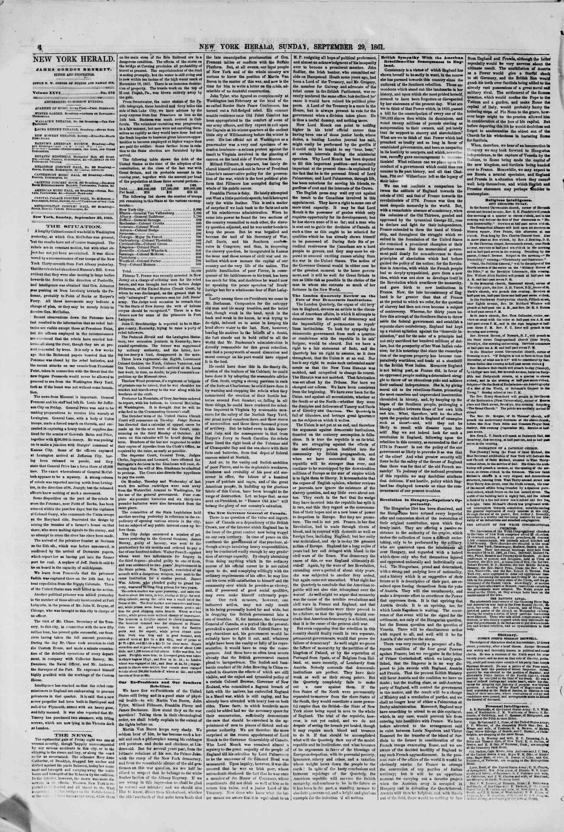 Newspaper of The New York Herald dated September 29, 1861 Page 4