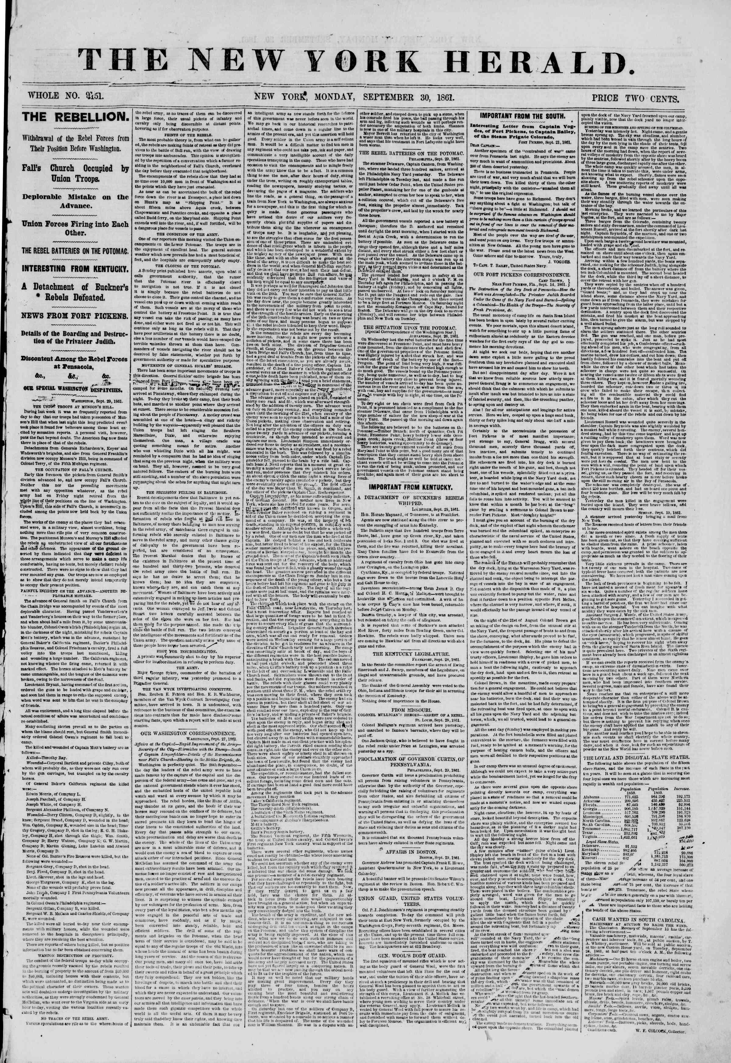 30 Eylül 1861 tarihli The New York Herald Gazetesi Sayfa 1