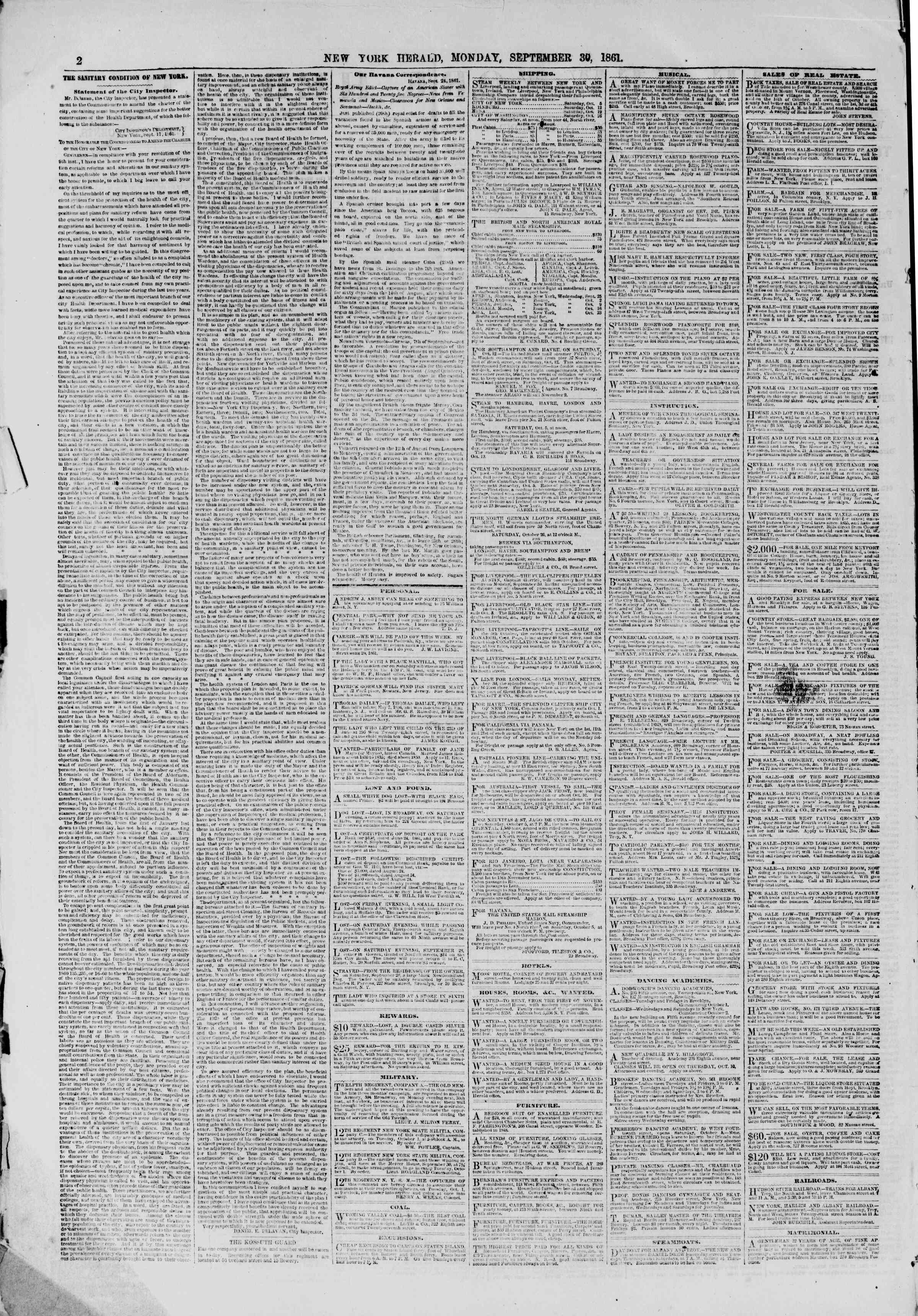 Newspaper of The New York Herald dated September 30, 1861 Page 2