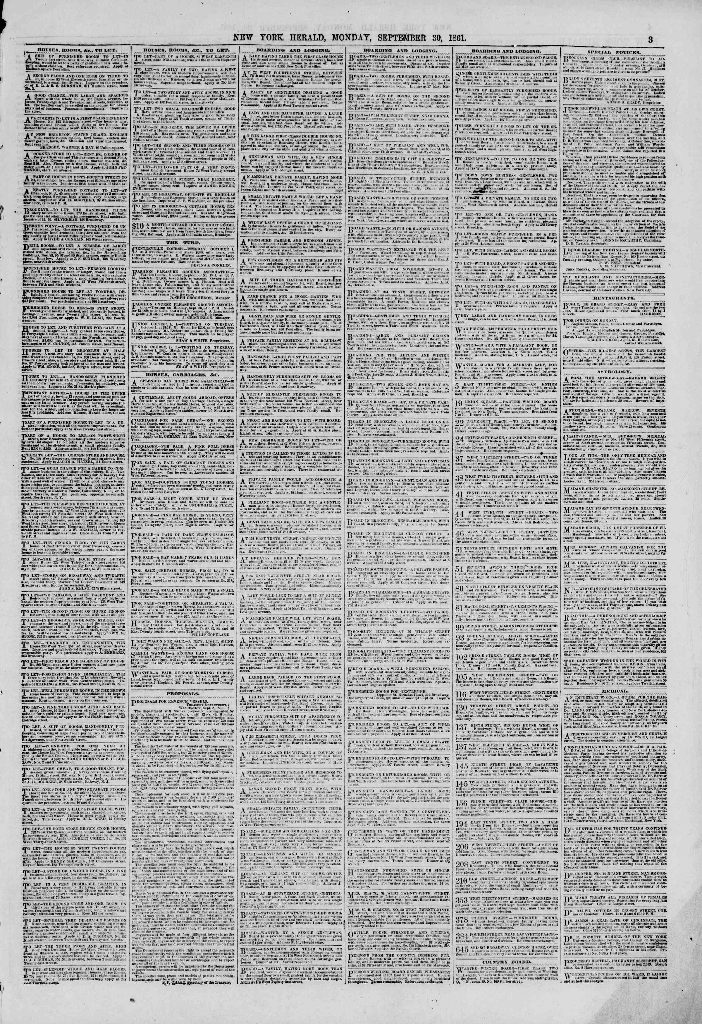 Newspaper of The New York Herald dated September 30, 1861 Page 3