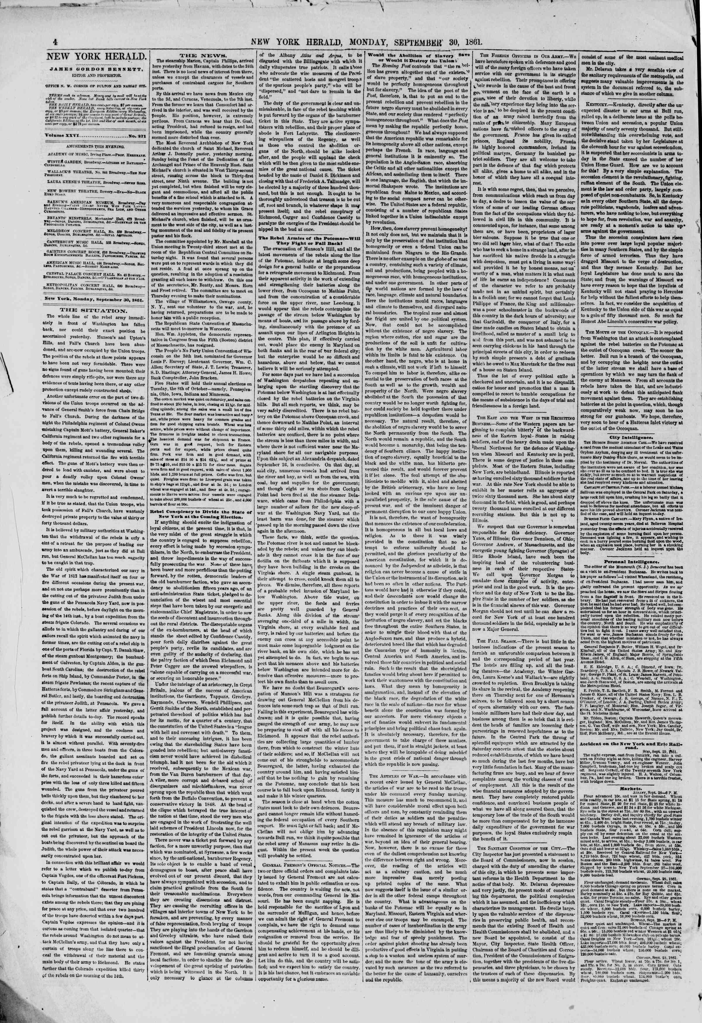 Newspaper of The New York Herald dated September 30, 1861 Page 4