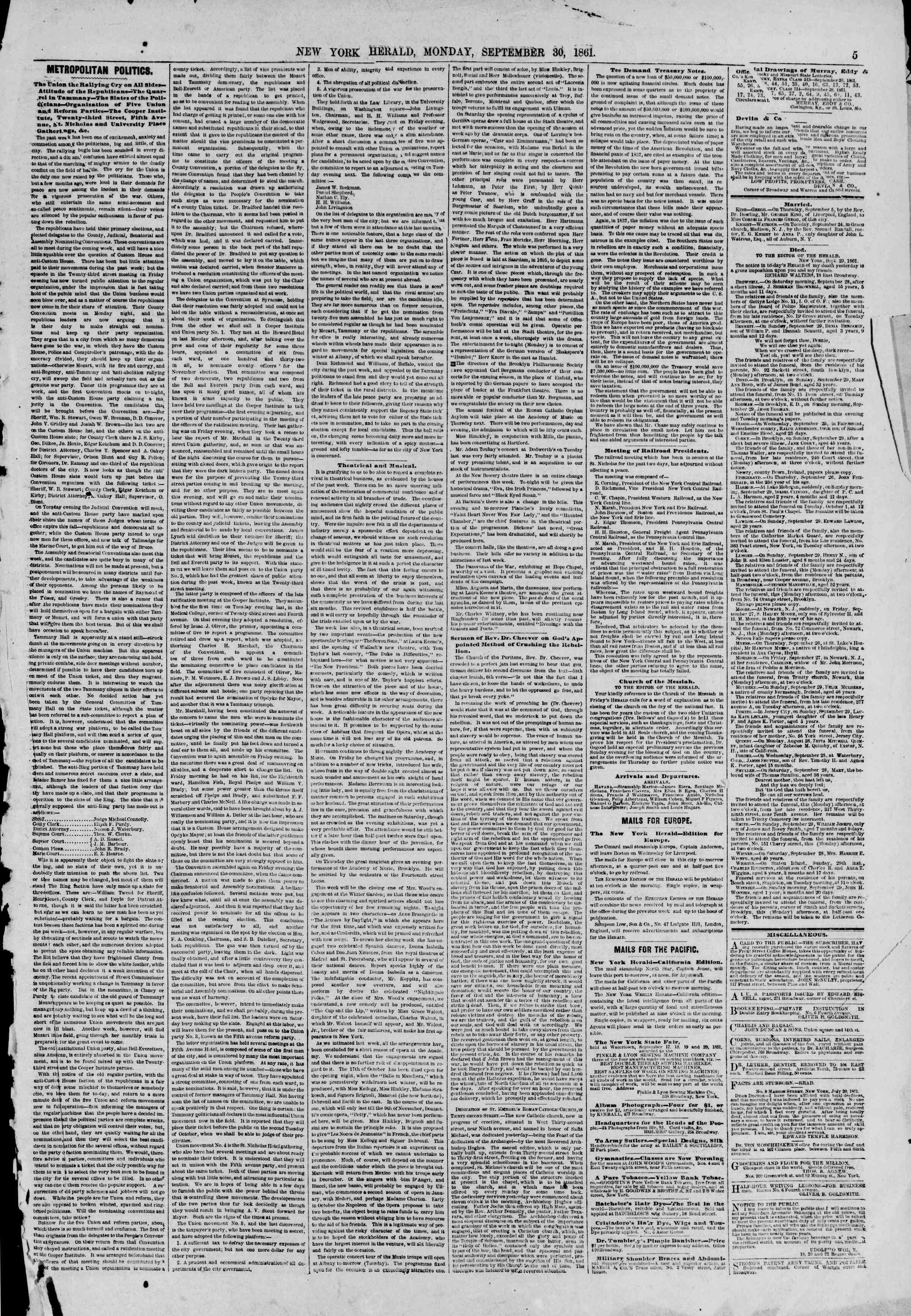 Newspaper of The New York Herald dated September 30, 1861 Page 5