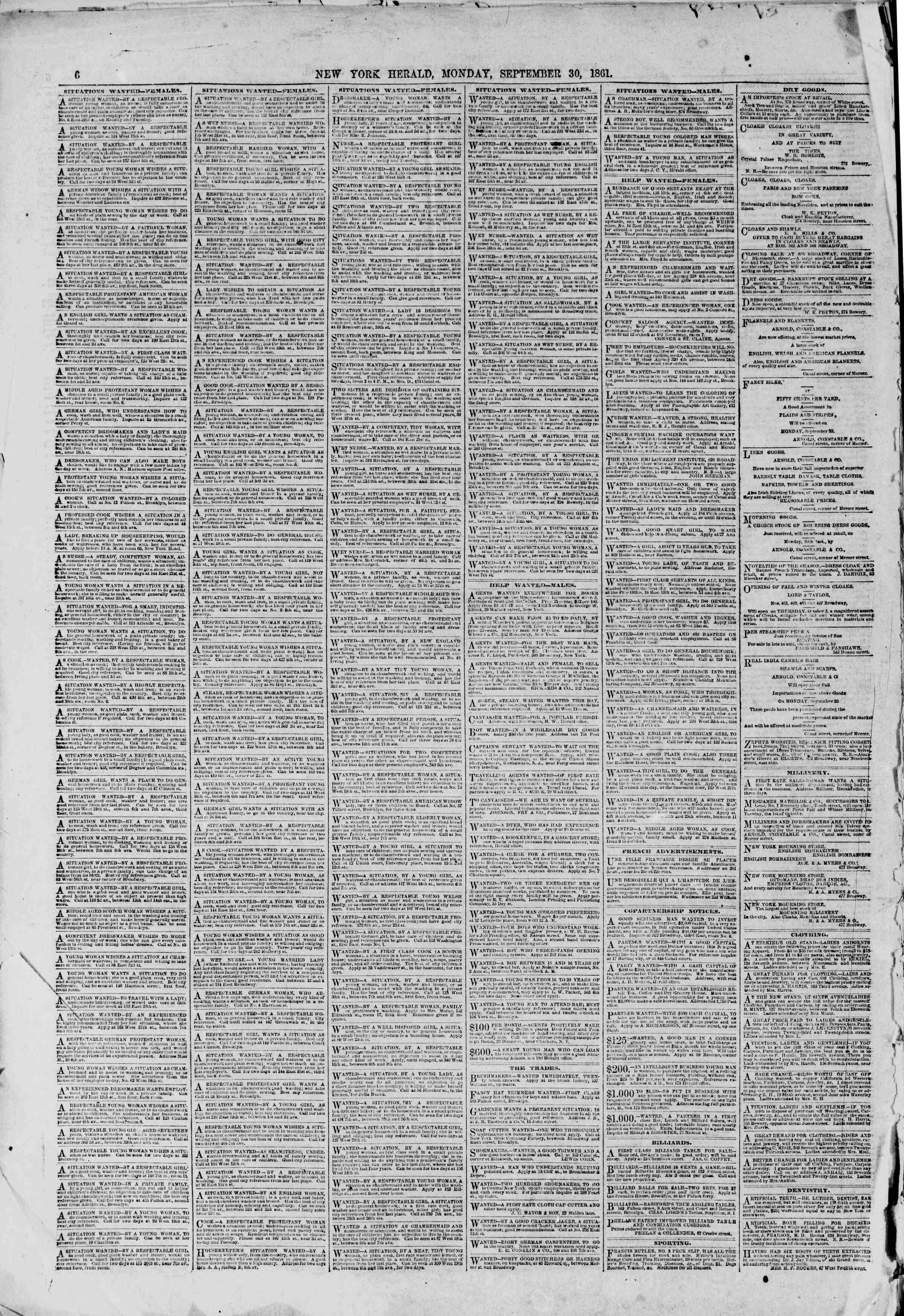 Newspaper of The New York Herald dated September 30, 1861 Page 6