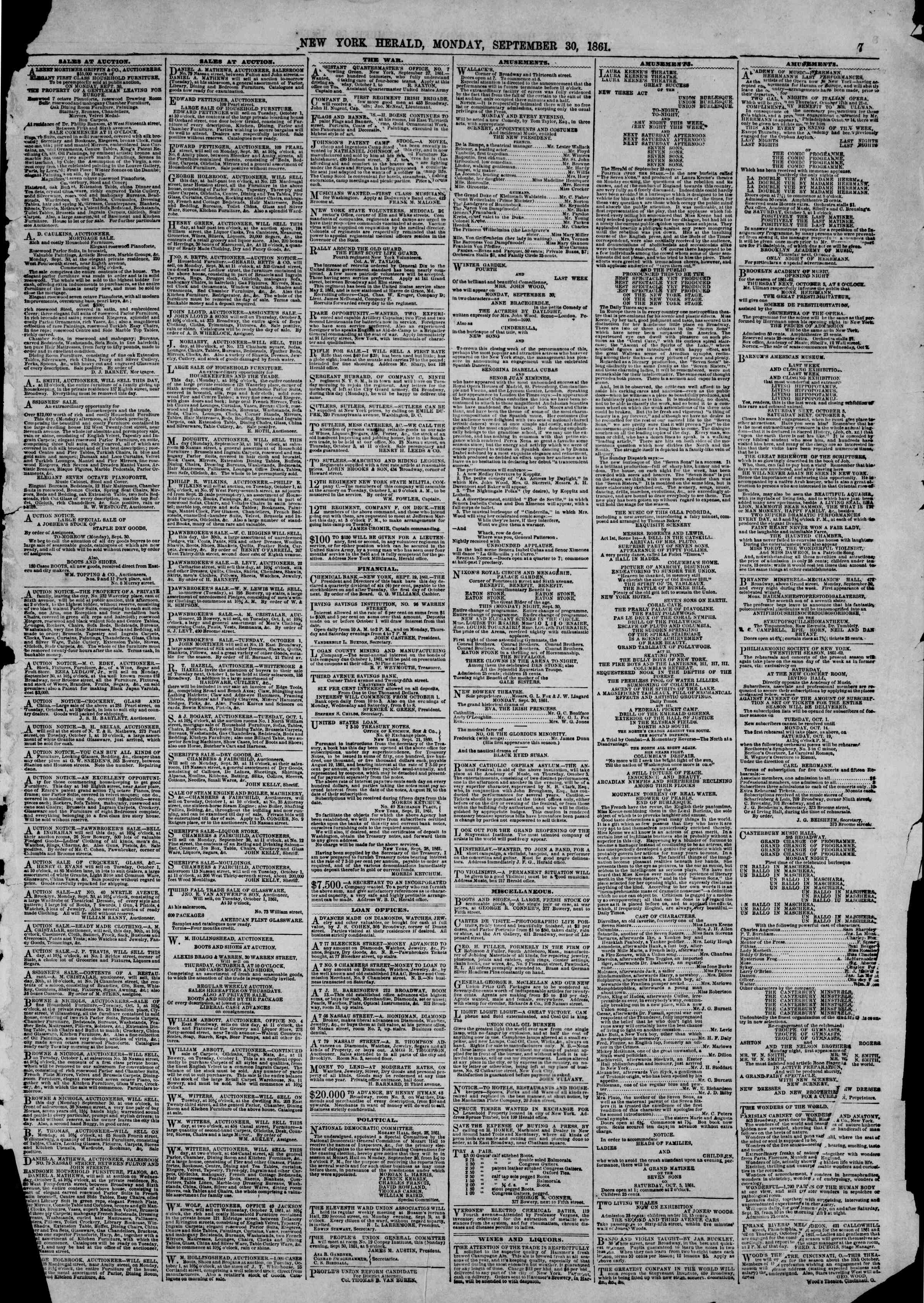 Newspaper of The New York Herald dated September 30, 1861 Page 7