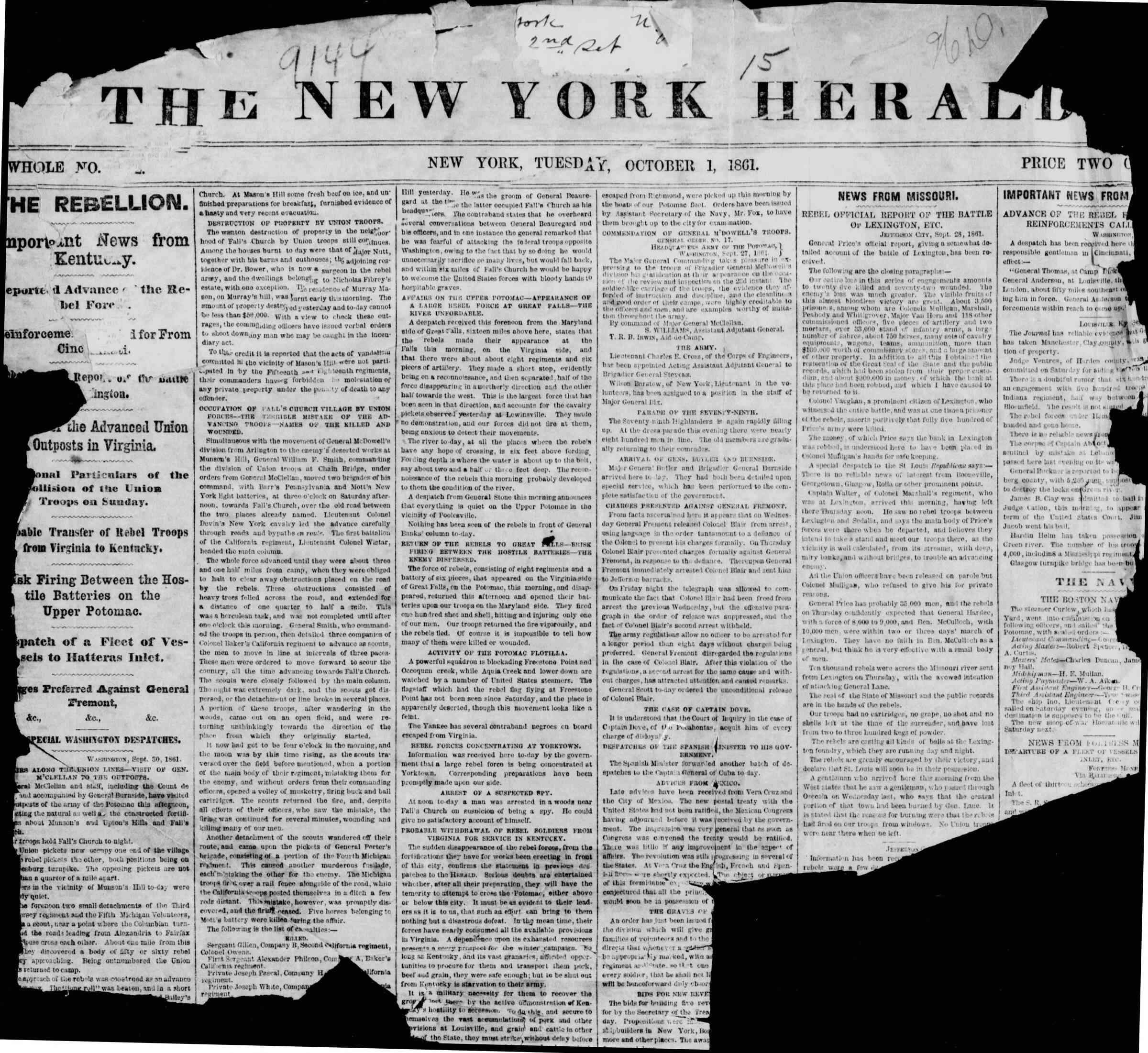 1 Ekim 1861 tarihli The New York Herald Gazetesi Sayfa 1