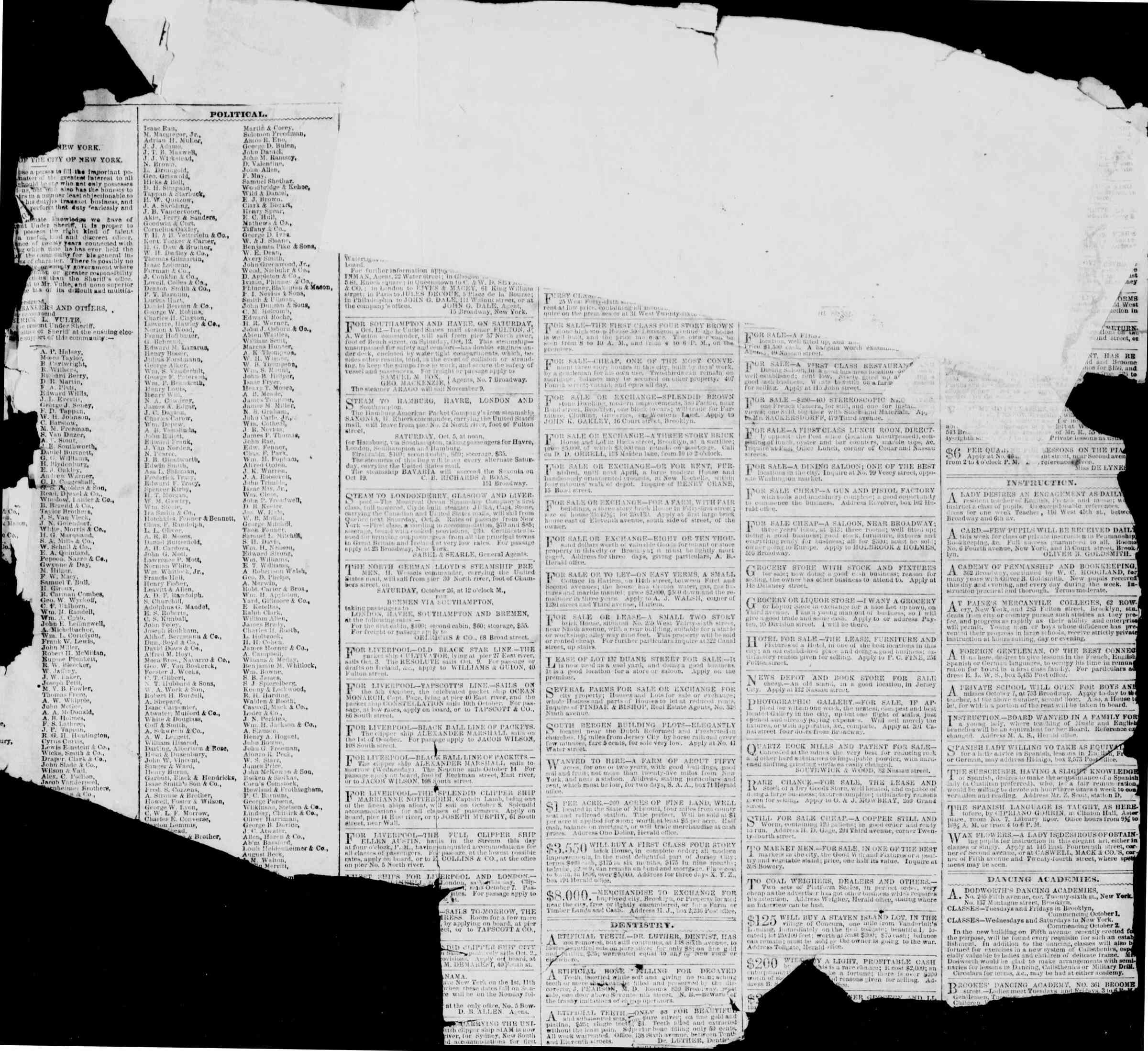 Newspaper of The New York Herald dated October 1, 1861 Page 2