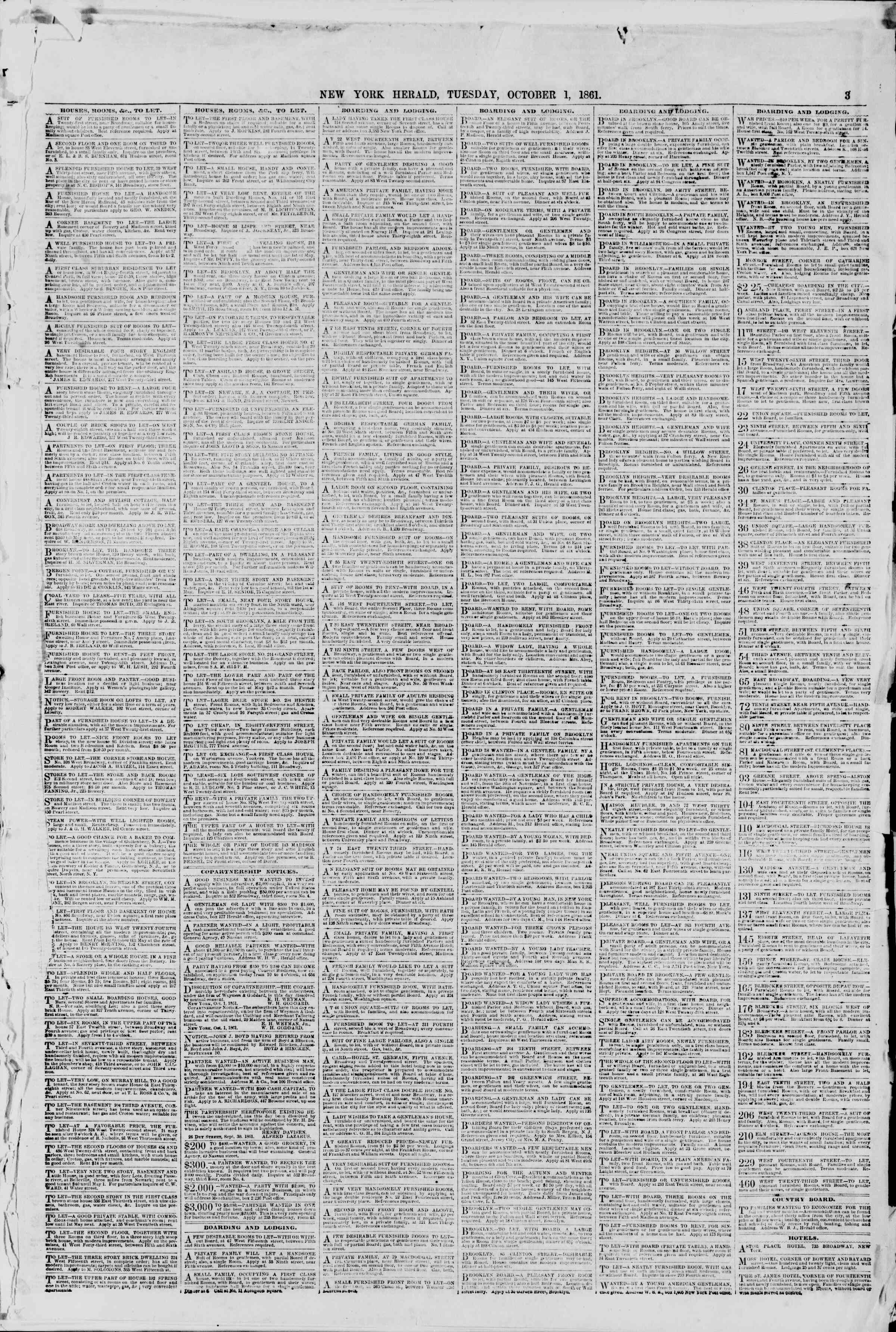 Newspaper of The New York Herald dated October 1, 1861 Page 3