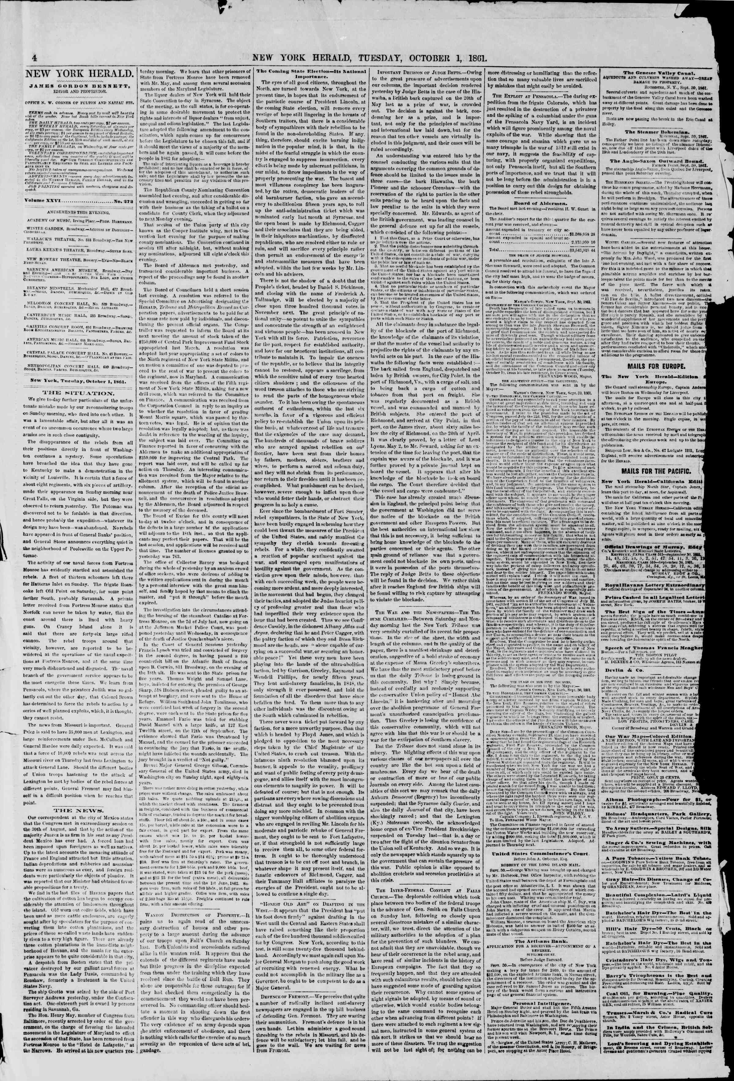 Newspaper of The New York Herald dated October 1, 1861 Page 4