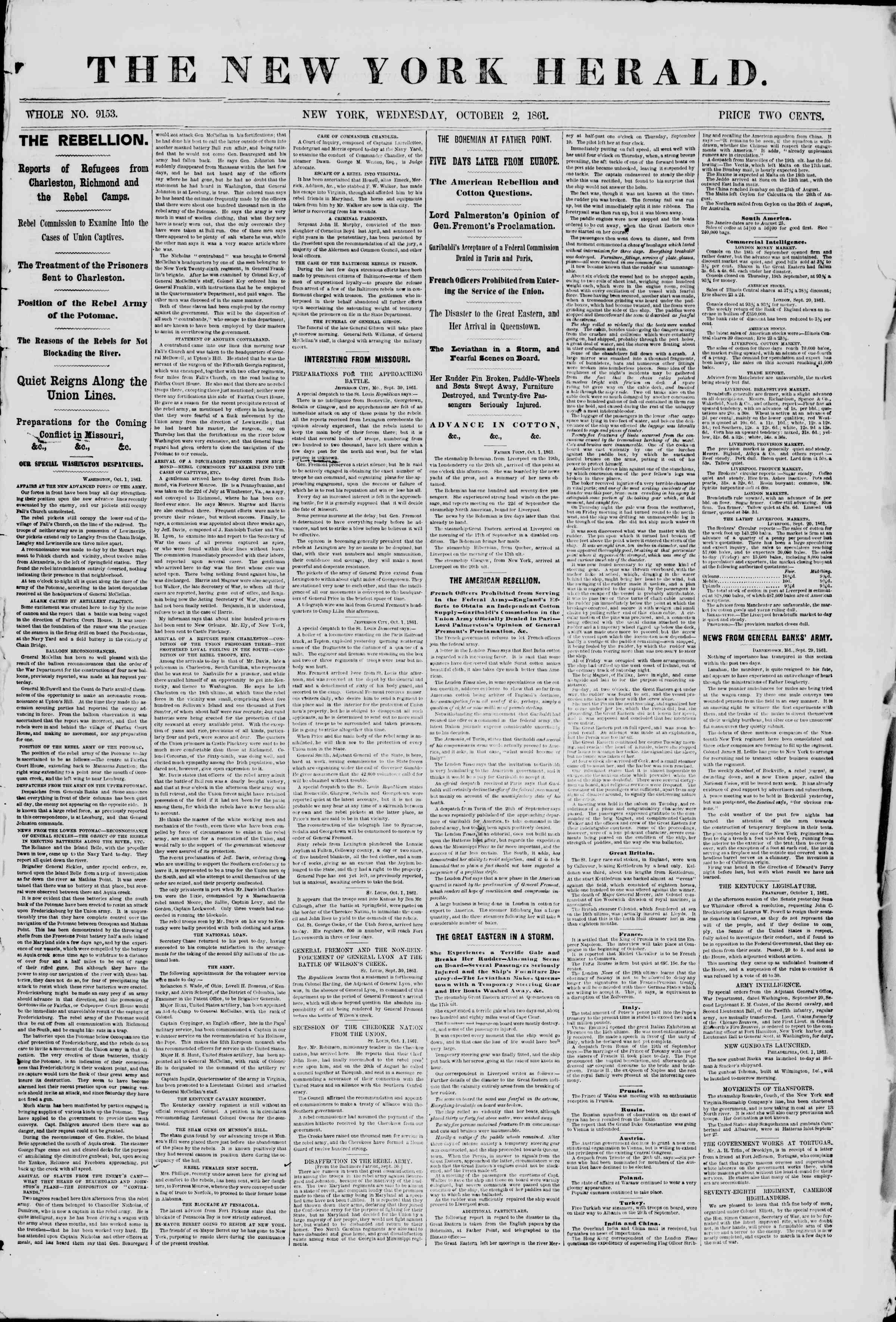 2 Ekim 1861 tarihli The New York Herald Gazetesi Sayfa 1