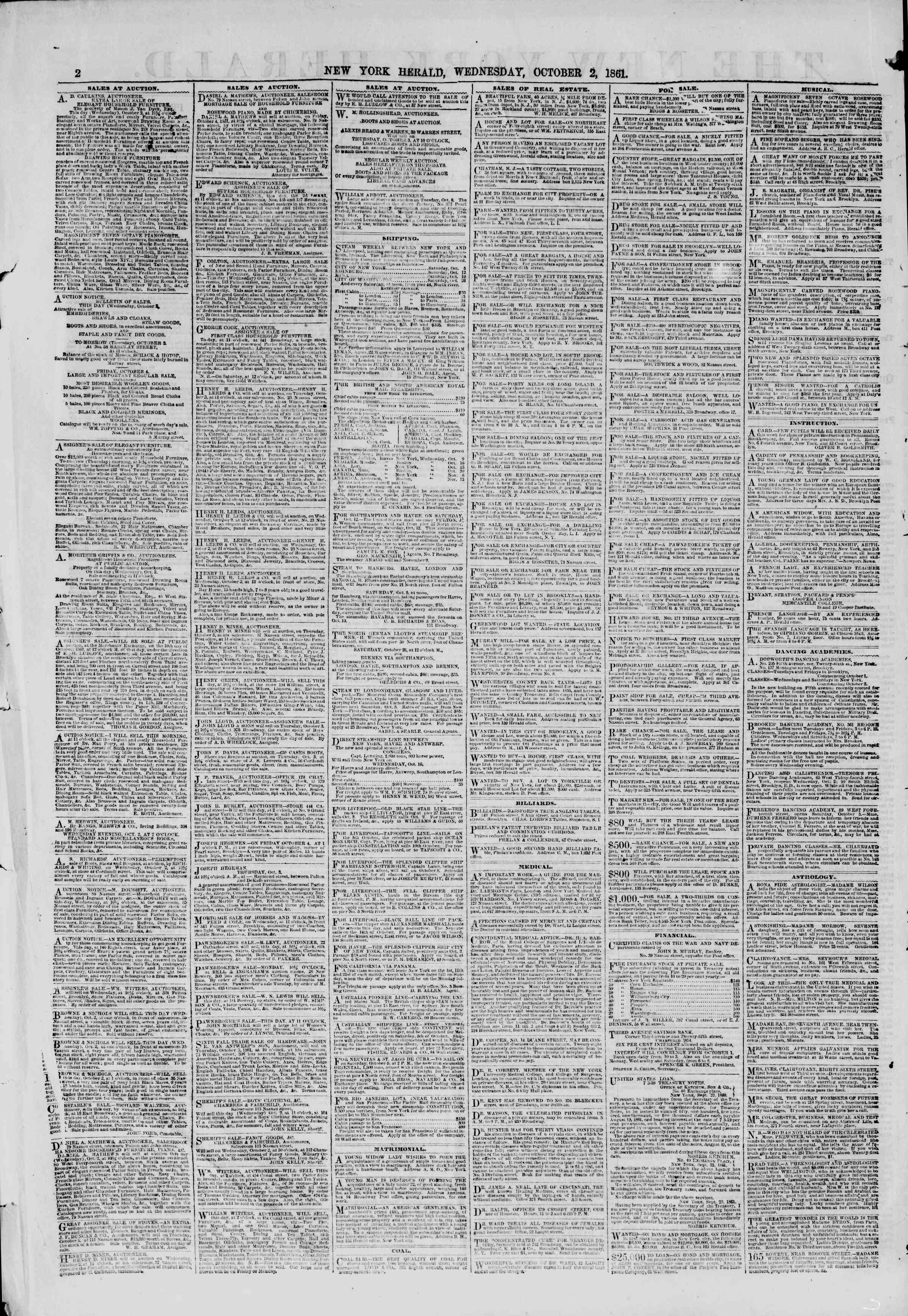 Newspaper of The New York Herald dated October 2, 1861 Page 2