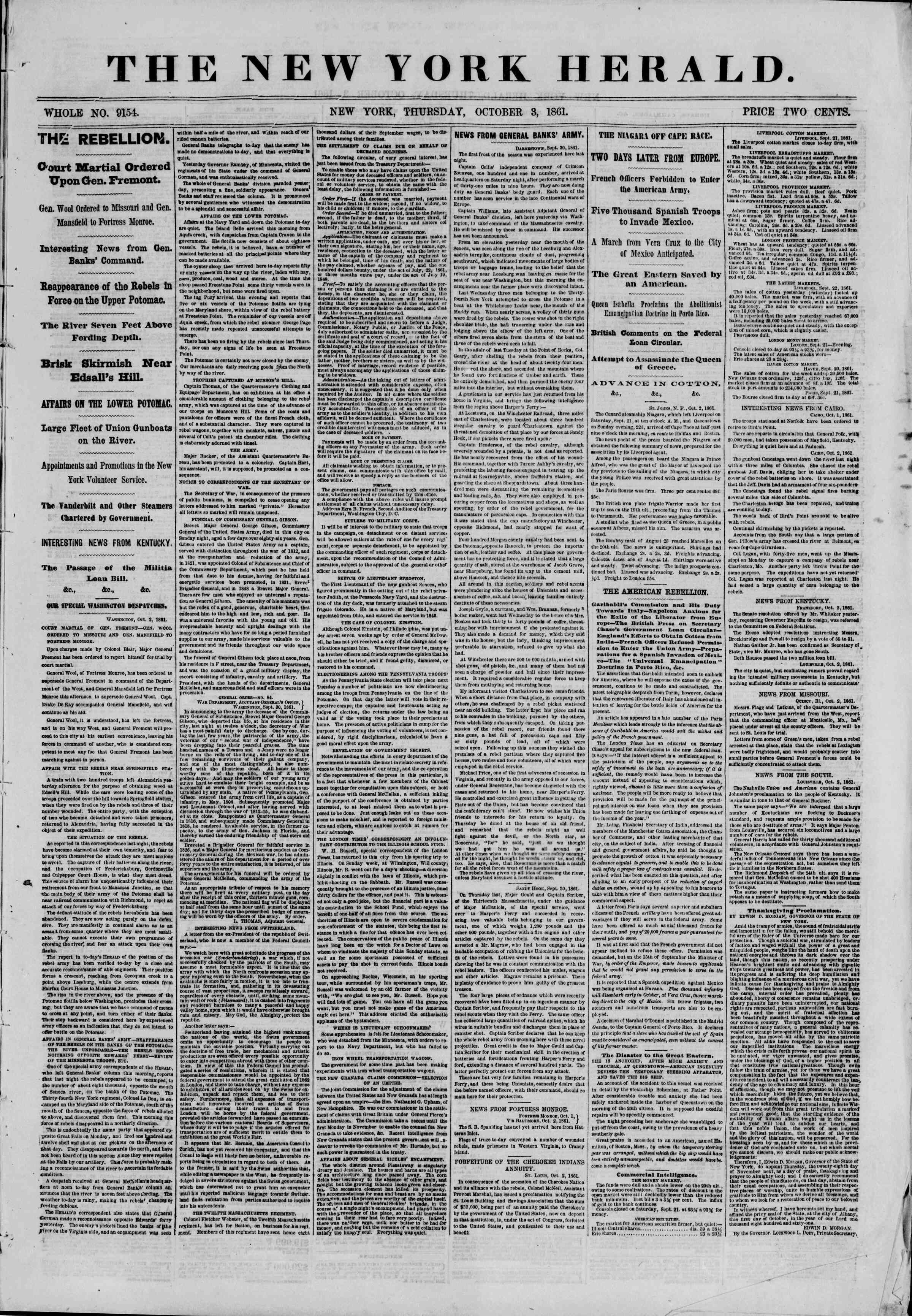 Newspaper of The New York Herald dated October 3, 1861 Page 1