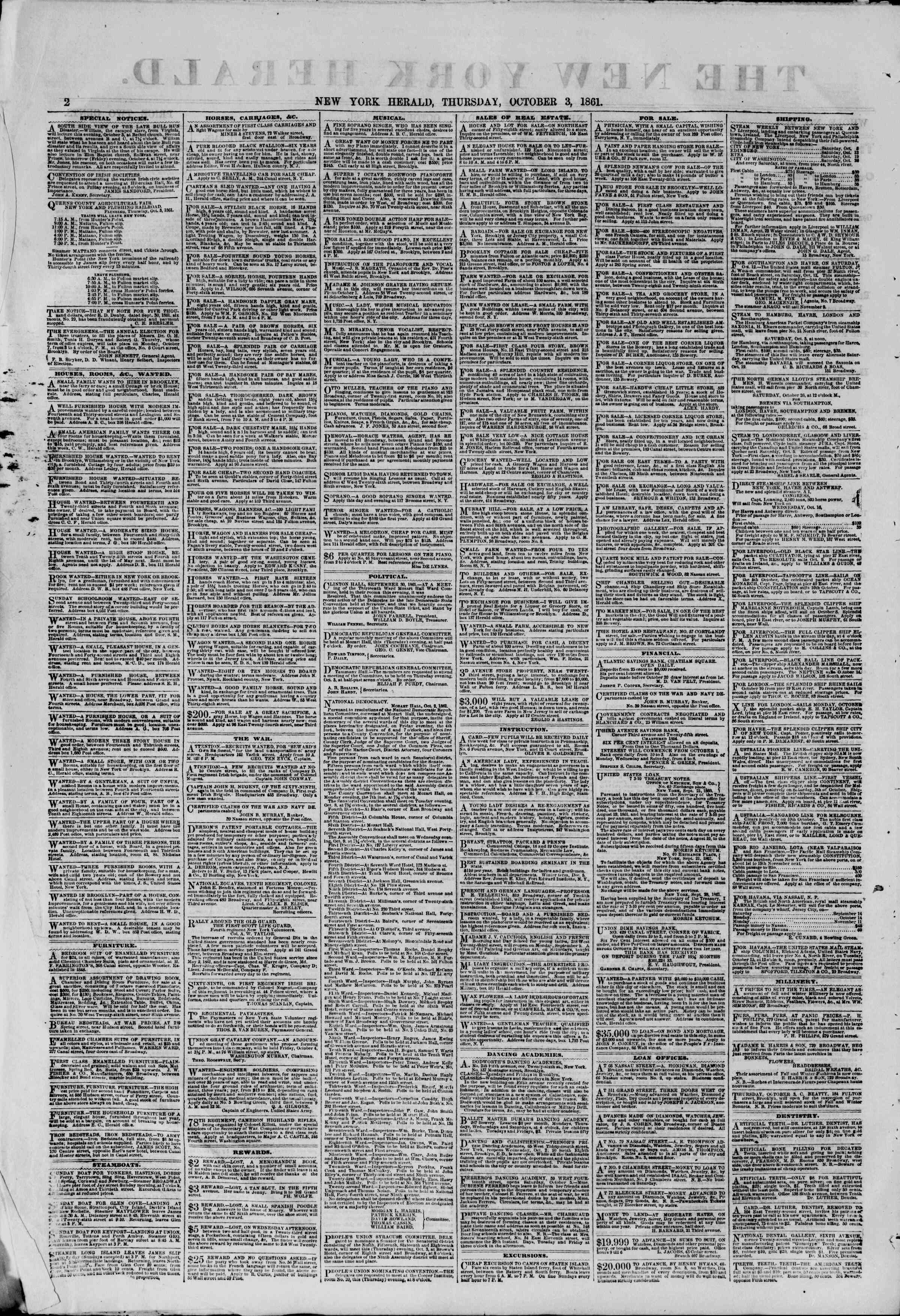 Newspaper of The New York Herald dated October 3, 1861 Page 2