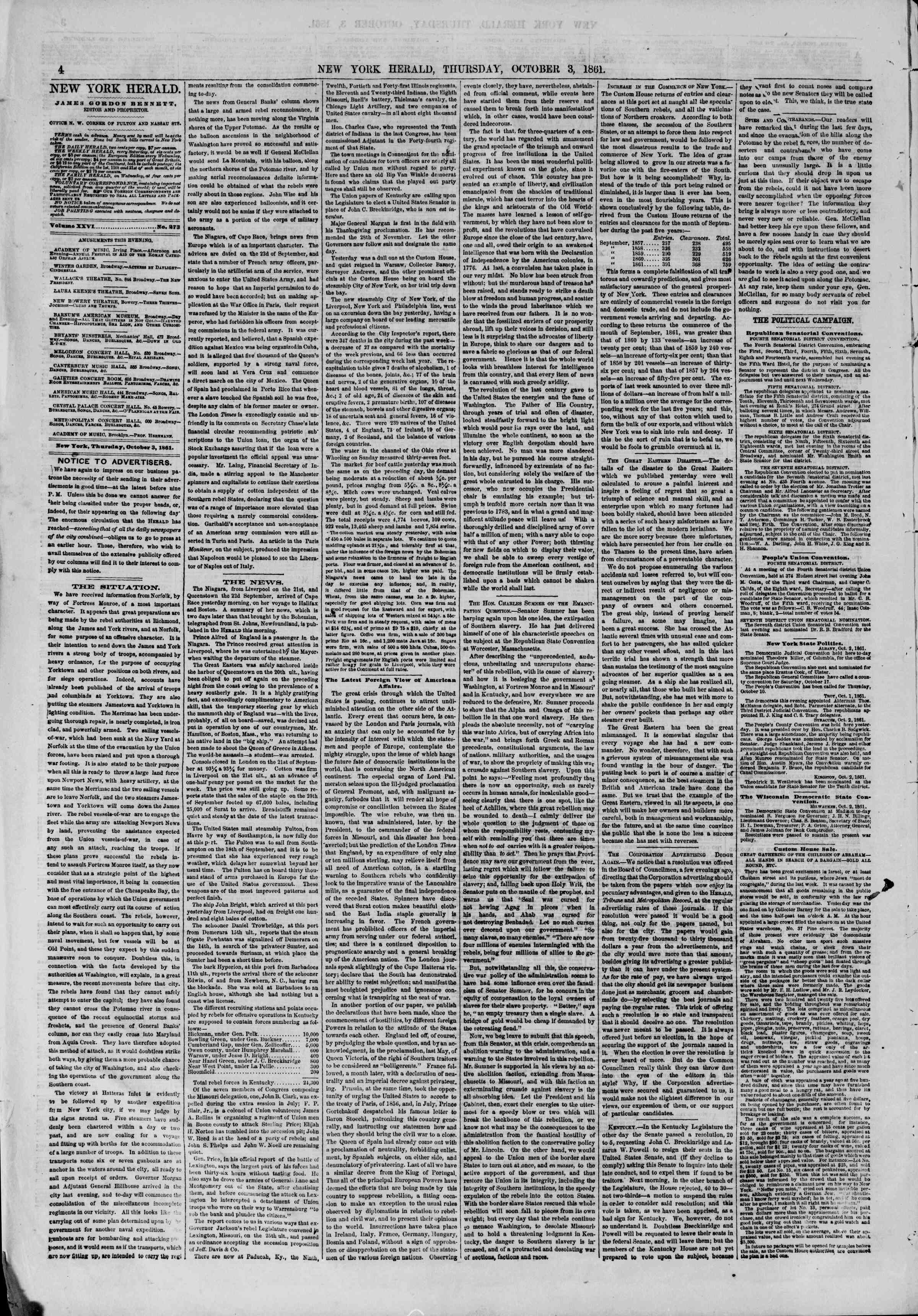 Newspaper of The New York Herald dated October 3, 1861 Page 4