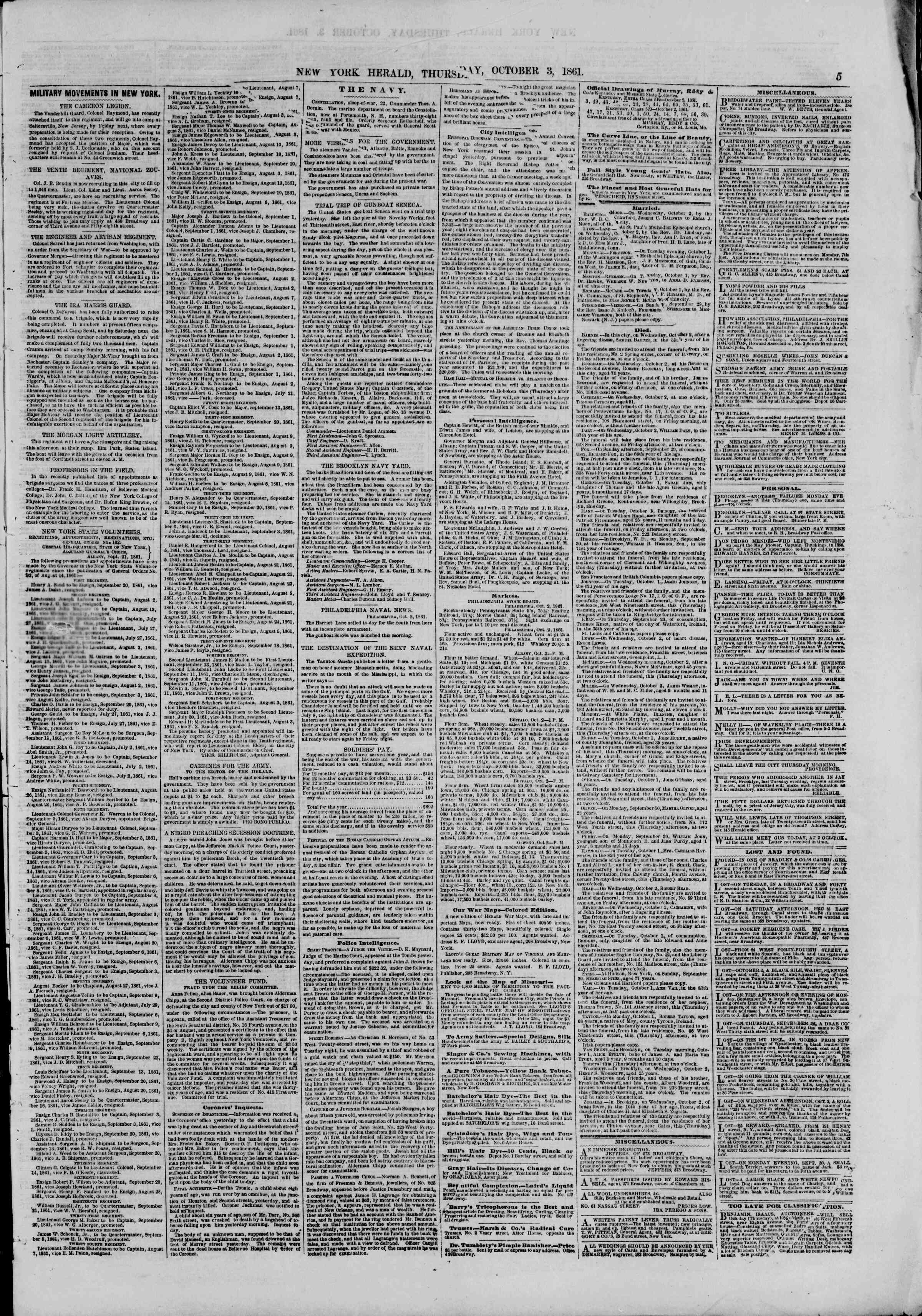 Newspaper of The New York Herald dated October 3, 1861 Page 5