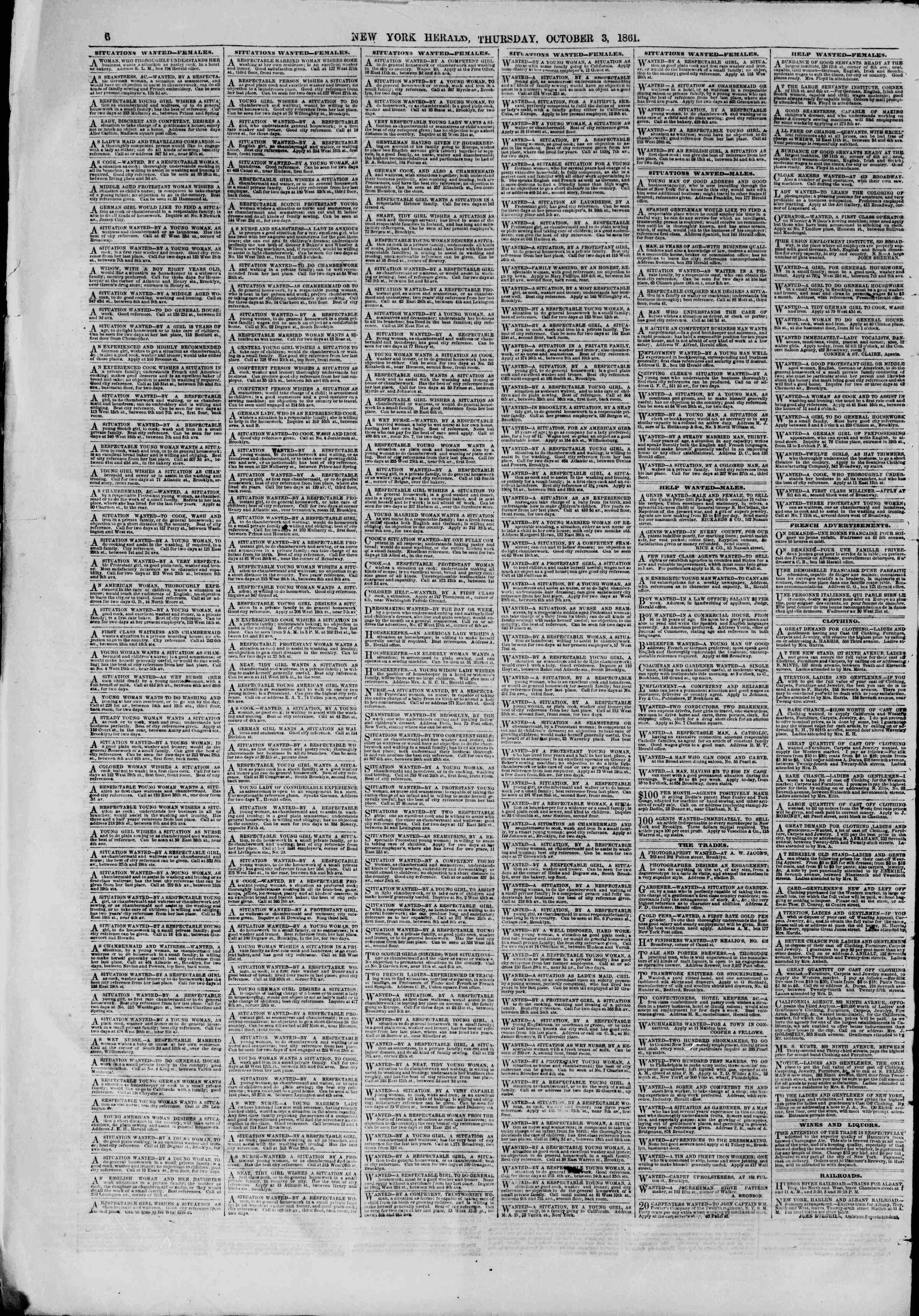 Newspaper of The New York Herald dated October 3, 1861 Page 6