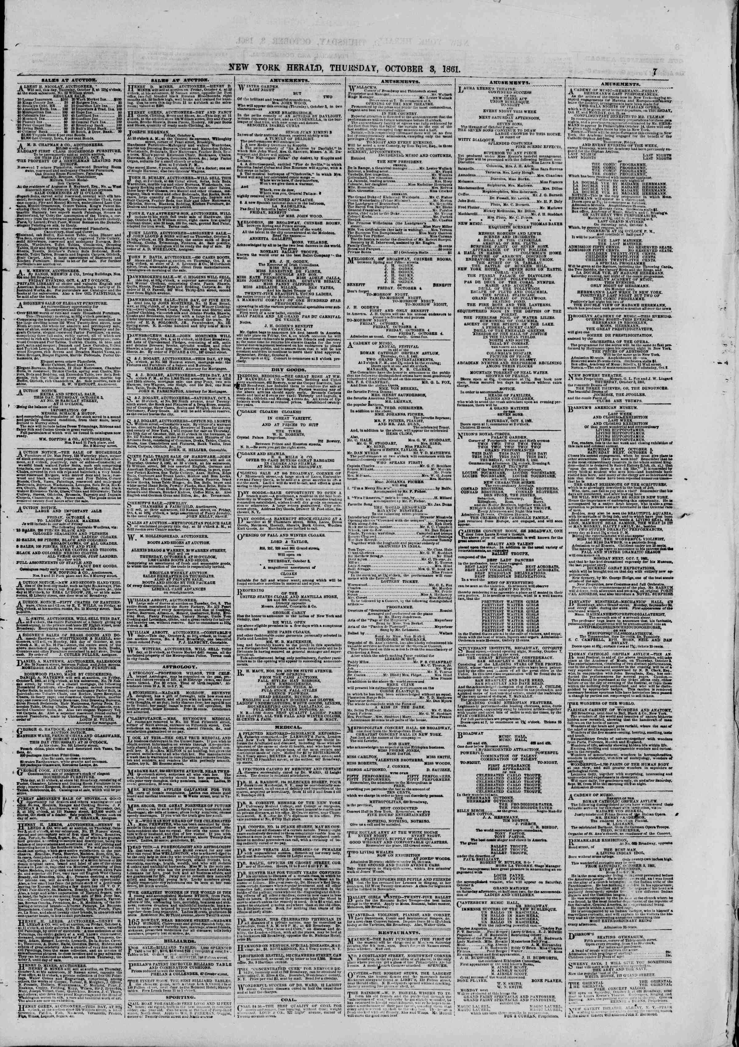 Newspaper of The New York Herald dated October 3, 1861 Page 7