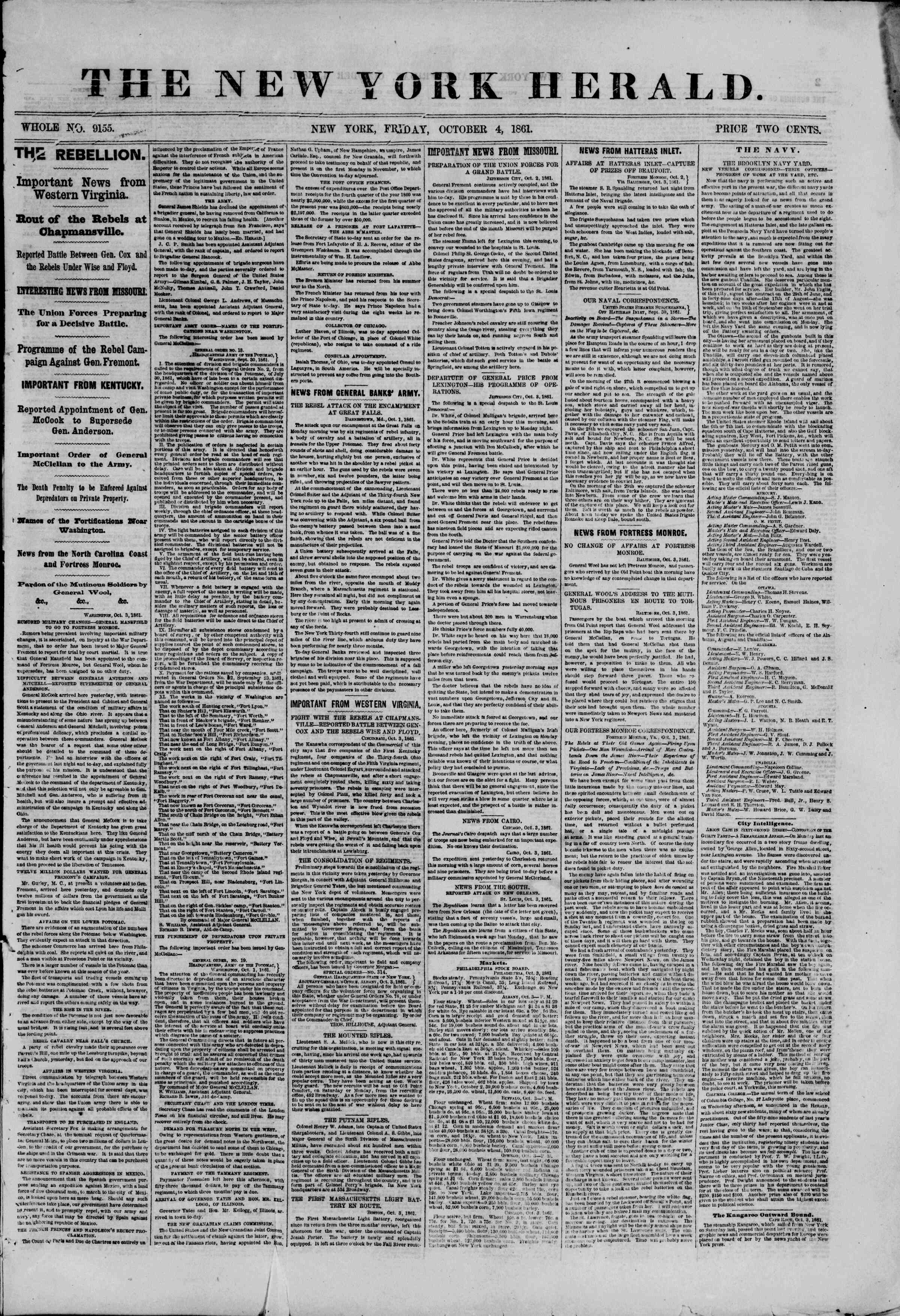 Newspaper of The New York Herald dated October 4, 1861 Page 1