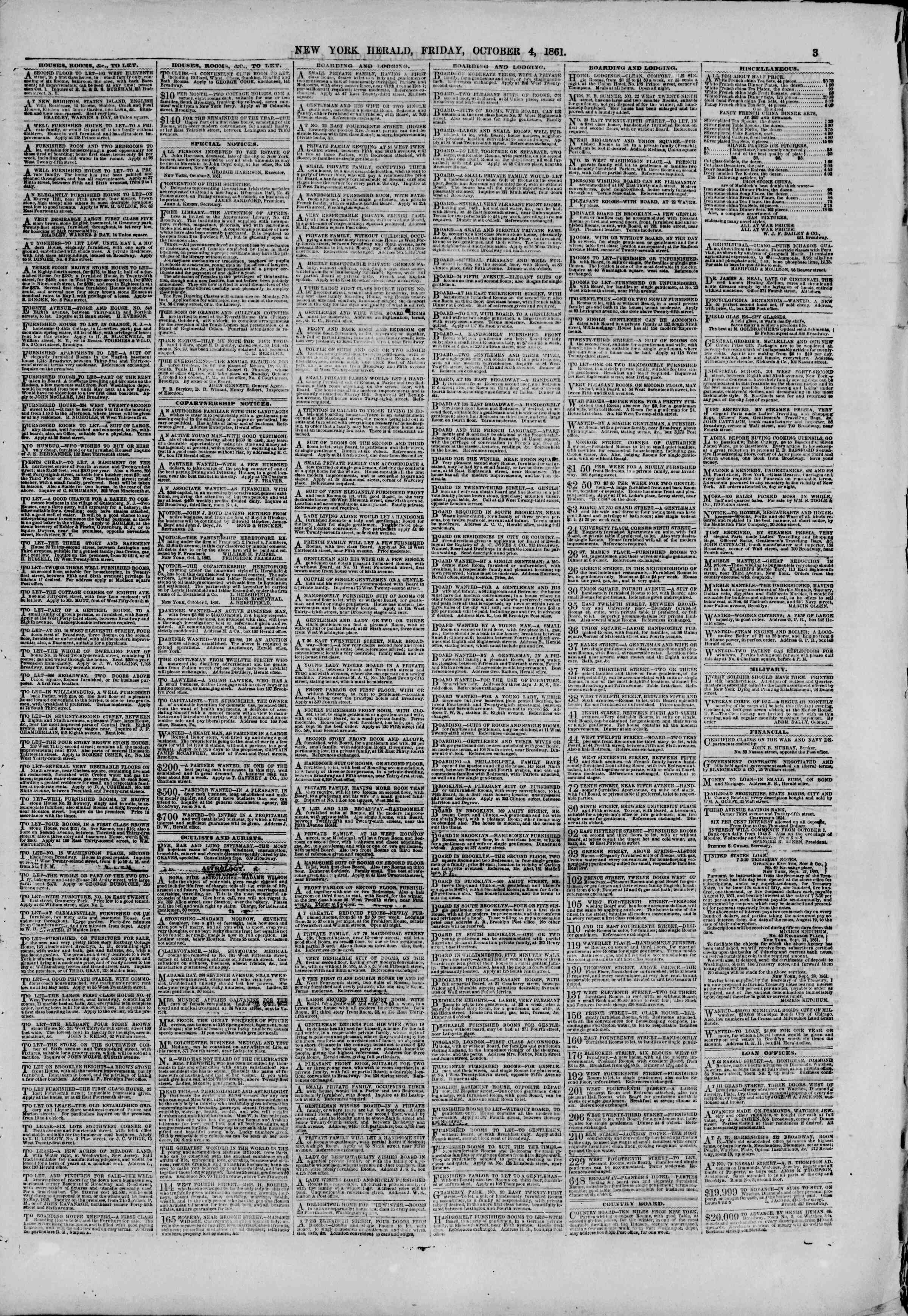Newspaper of The New York Herald dated October 4, 1861 Page 3